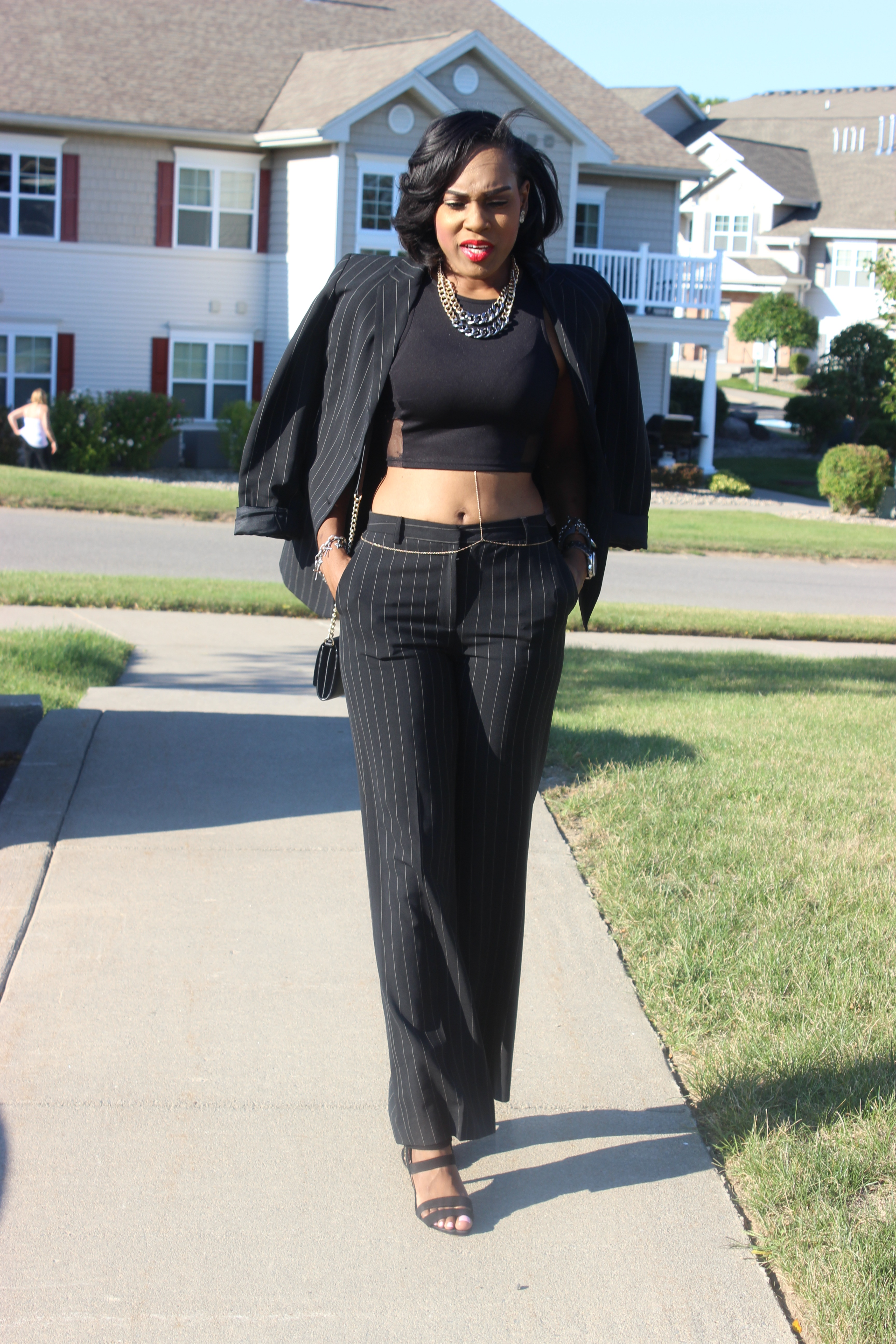 Style-Files-With-Pretty-Price-How-to-wear-a-Pinstripe-Suit-Black-white-casual-coners-thrifted-pant-suit-black-mesh-forever-21-mesh-crop-top-Just-Fab-Florence-Heels-8