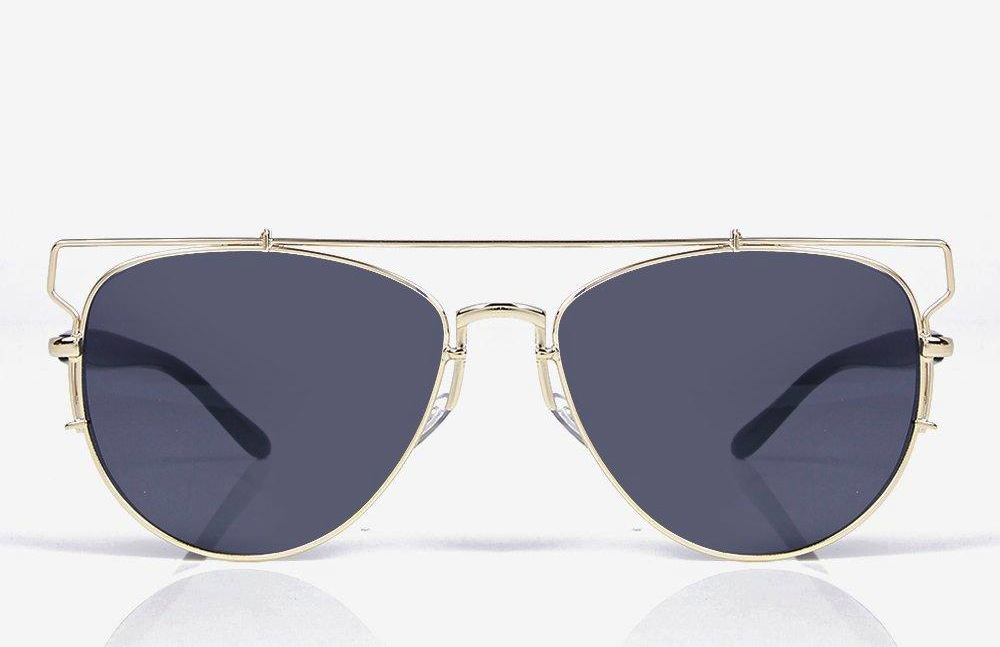 Boohoo Women's Silver Tia Cut Out Metal Frame Modern Aviators-2