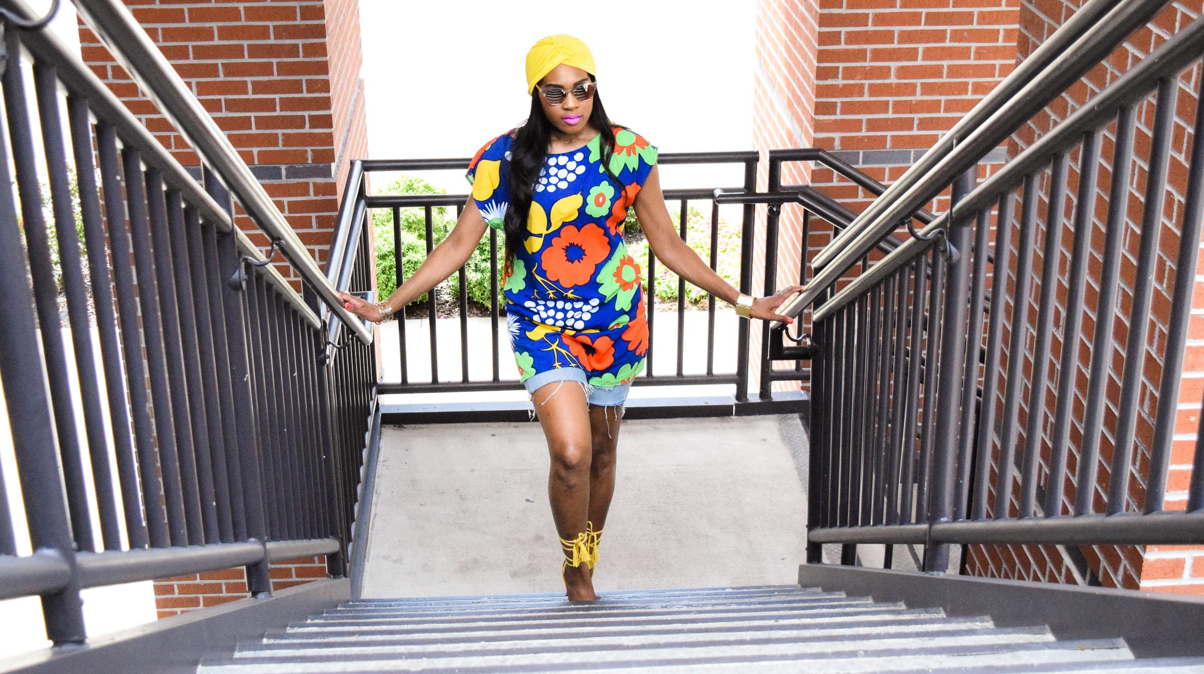 Style-Files-Target-Marimeko-collection -floral-tunic-justfab-tayrey-yellow-fringe-heels-sandals-yellow-turban-asos-denim-choker-oohlalablog-10