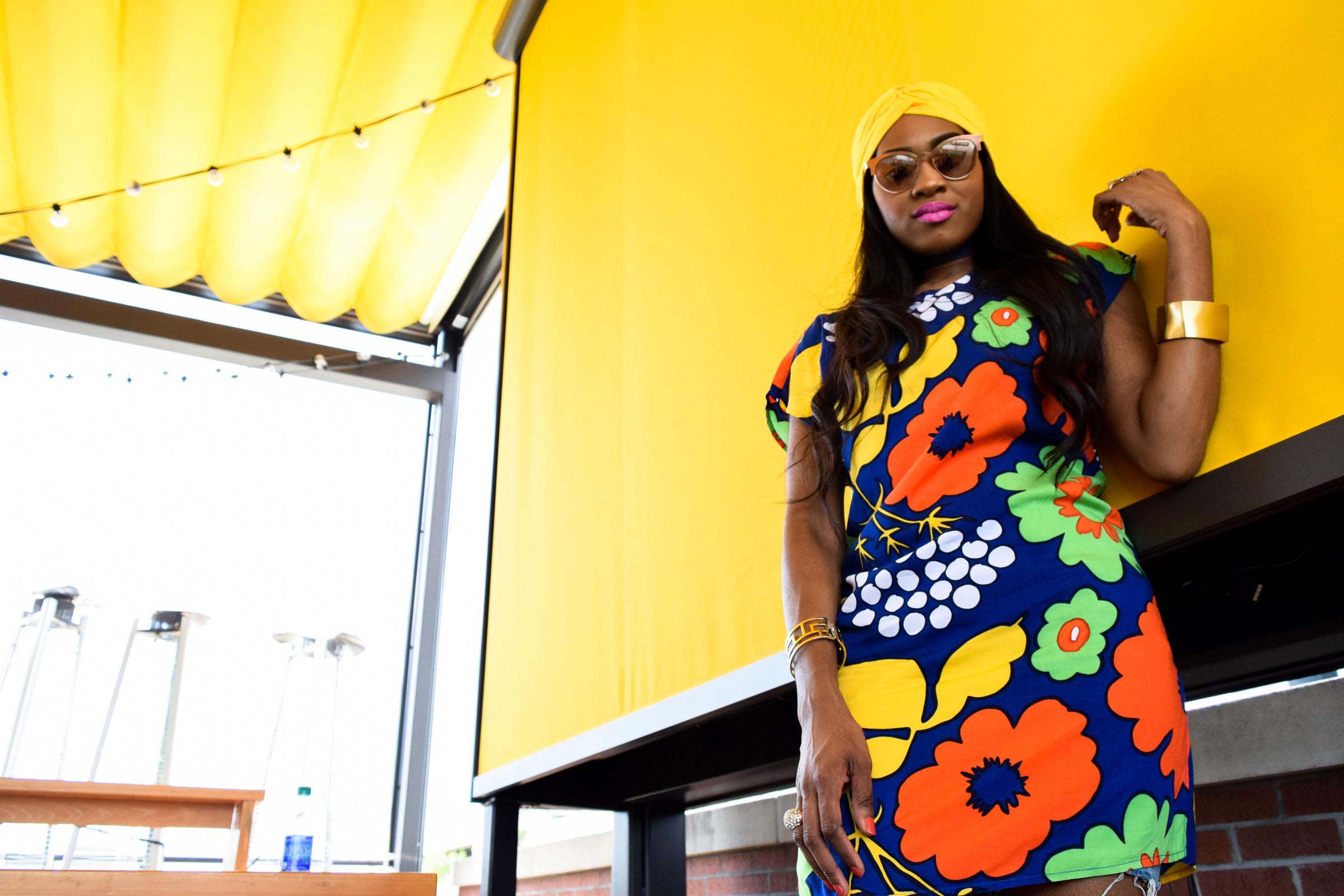 Style-Files-Target-Marimeko-collection -floral-tunic-justfab-tayrey-yellow-fringe-heels-sandals-yellow-turban-asos-denim-choker-oohlalablog-3