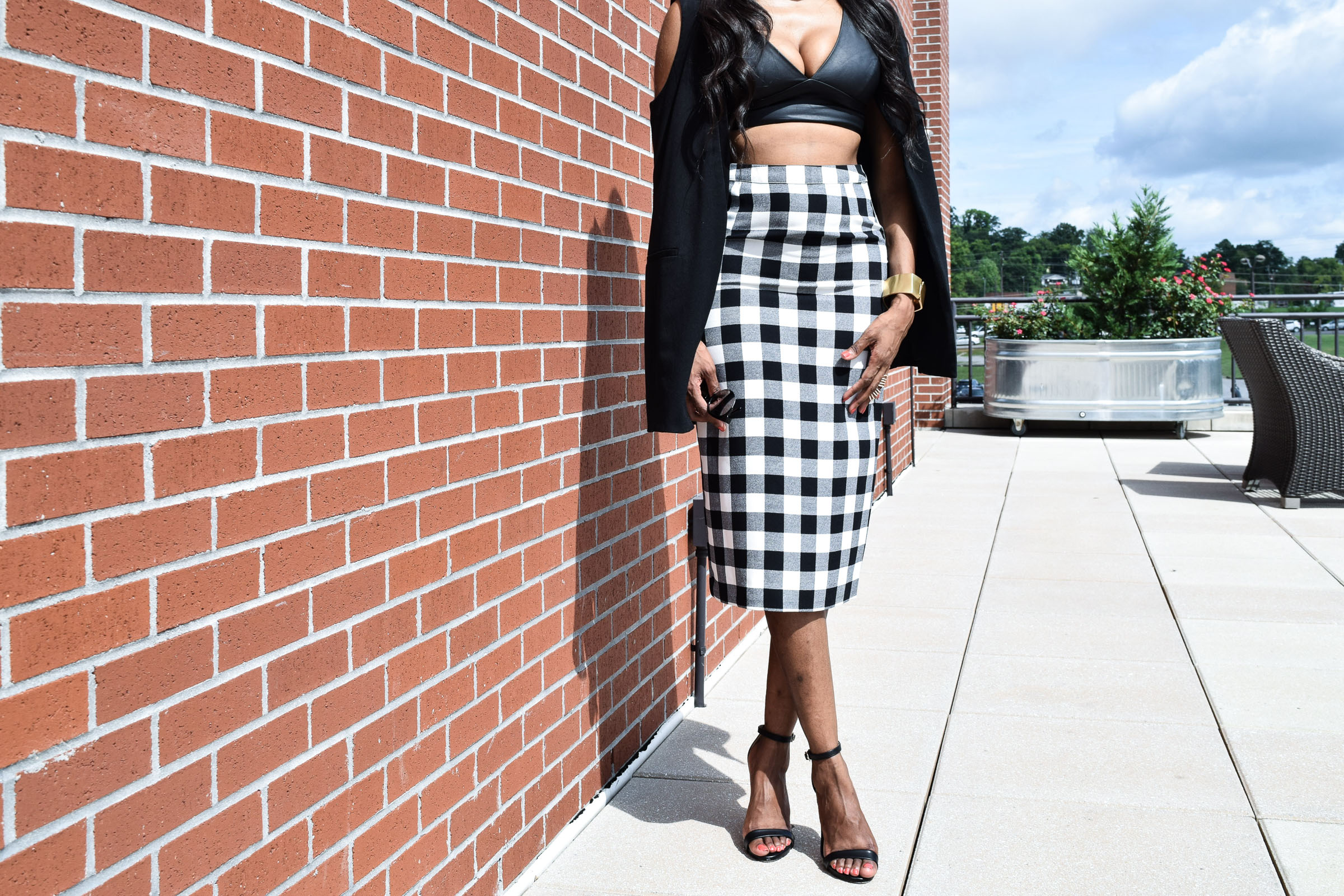 Style-Files-WhoWhatWear-Target-collection-black-white-gingham-pencil-skirt-forever-21-black-leather-bralette-top-justfab-catherina-black-ankle-strap-sandals-Target-Mossimo-vest-who-to-wear-gingham-OohLaLaBlog-15