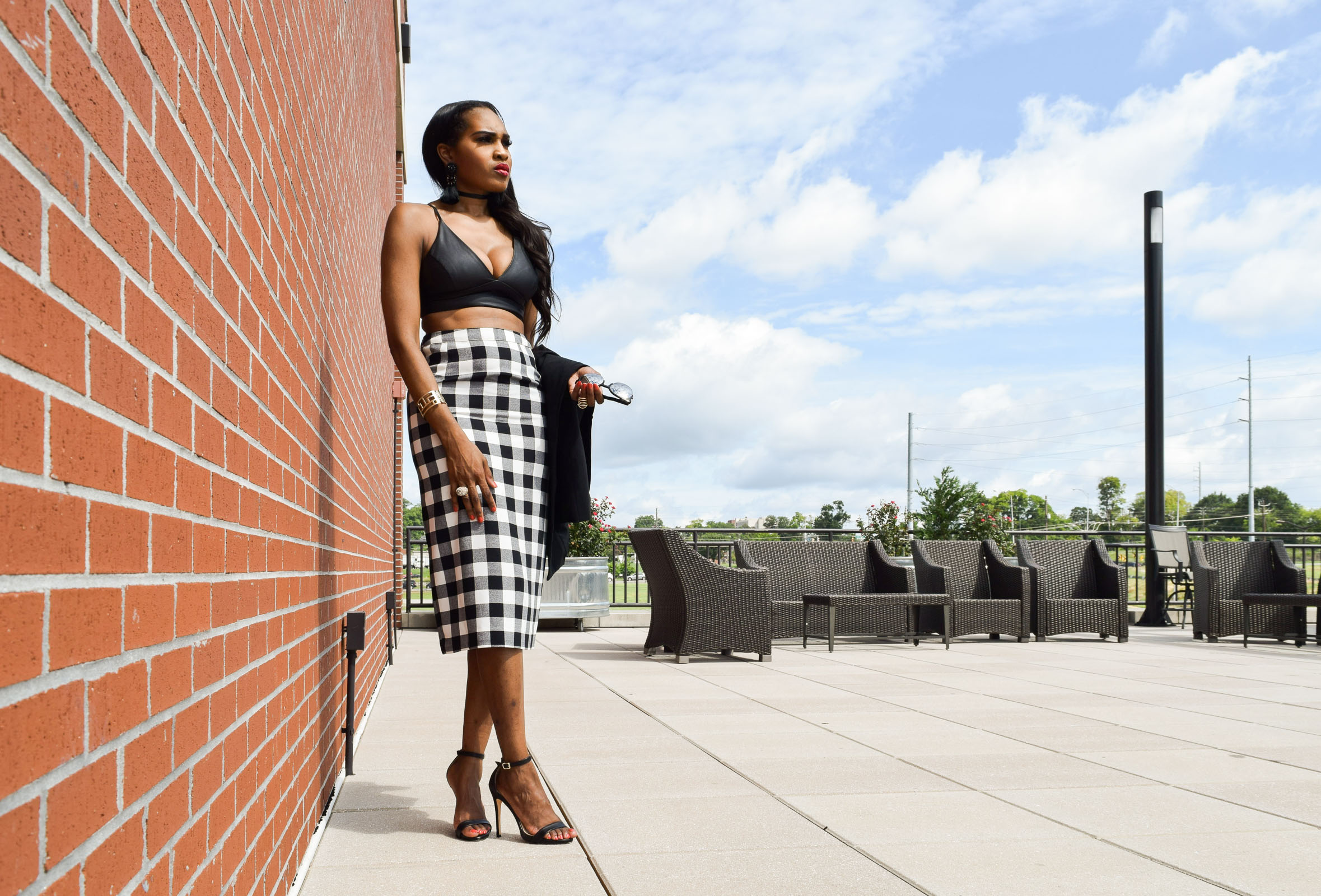 Style-Files-WhoWhatWear-Target-collection-black-white-gingham-pencil-skirt-forever-21-black-leather-bralette-top-justfab-catherina-black-ankle-strap-sandals-Target-Mossimo-vest-who-to-wear-gingham-OohLaLaBlog-16