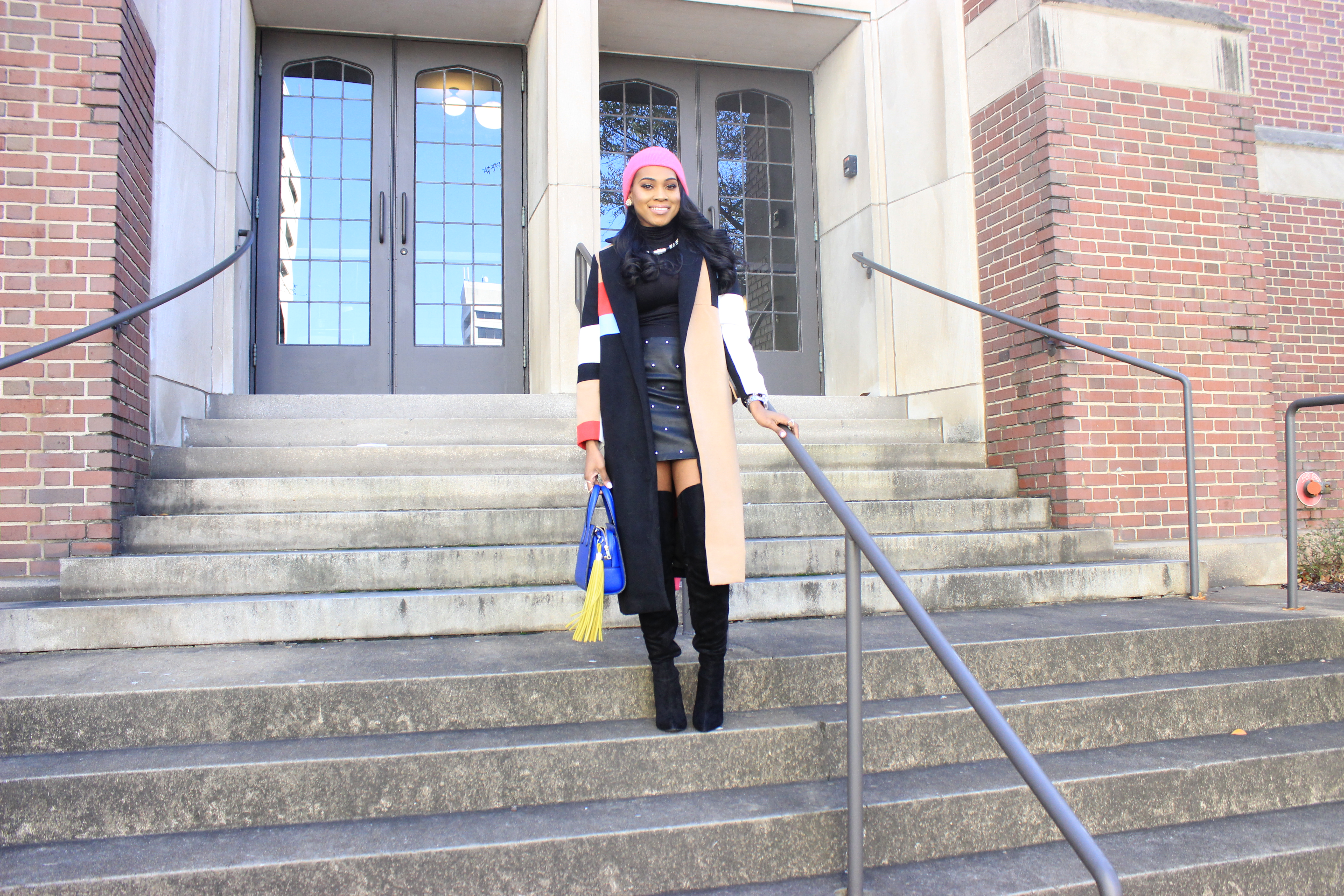 Style-Files-SheIn-Multicolor-Lapel-Color-Block-Coat-Forever21-Faux-Leather-studded-mini-skirt-black-sheer-turtleneck-Truffle-Collection-Over- The-Knee-Lace-Up-Back-High-Heeled-Boots-Hot-Pink-Beanie-Winter-Coat-Style-Guide-Oohlalablog-18