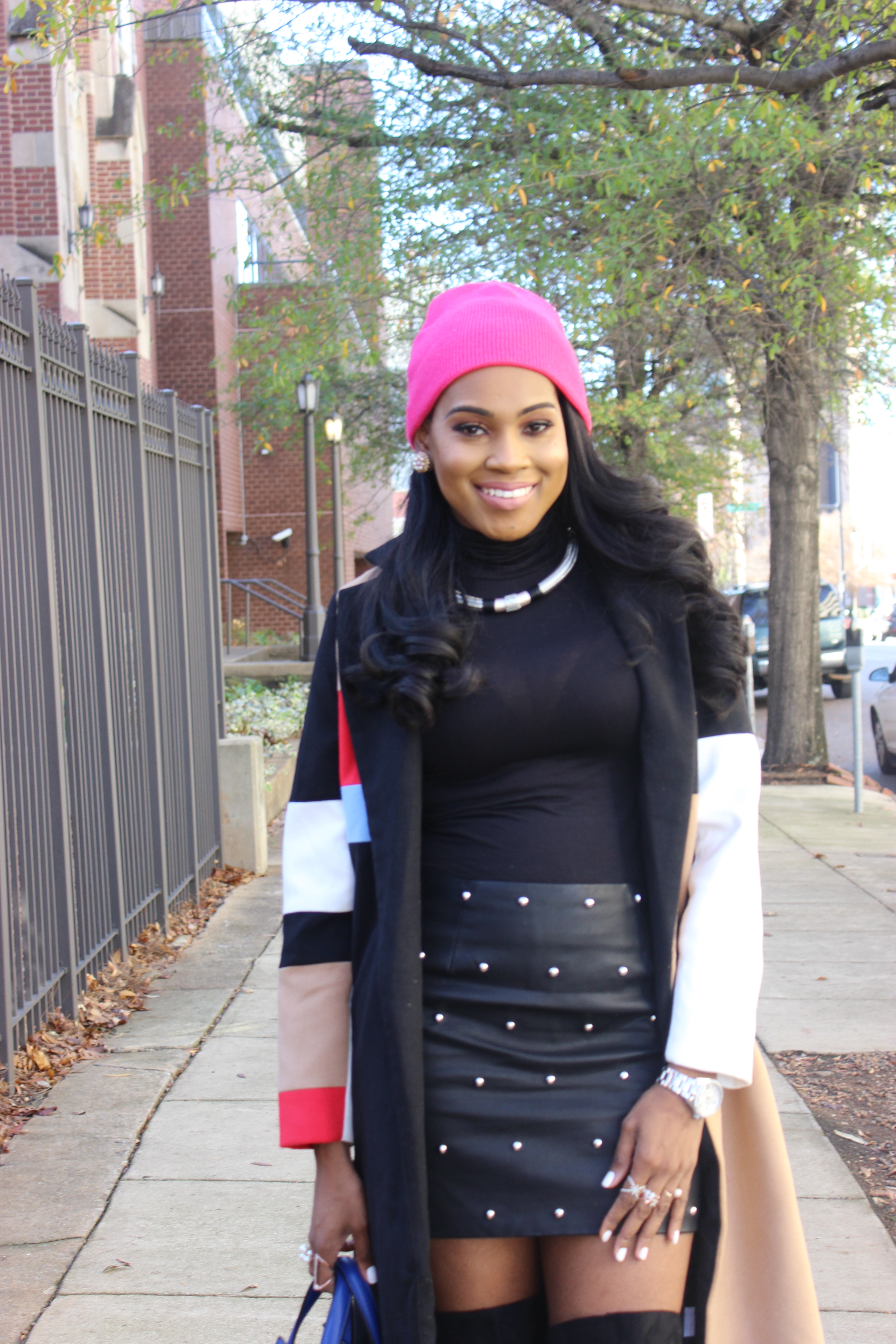 Style-Files-SheIn-Multicolor-Lapel-Color-Block-Coat-Forever21-Faux-Leather-studded-mini-skirt-black-sheer-turtleneck-Truffle-Collection-Over- The-Knee-Lace-Up-Back-High-Heeled-Boots-Hot-Pink-Beanie-Winter-Coat-Style-Guide-Oohlalablog-32