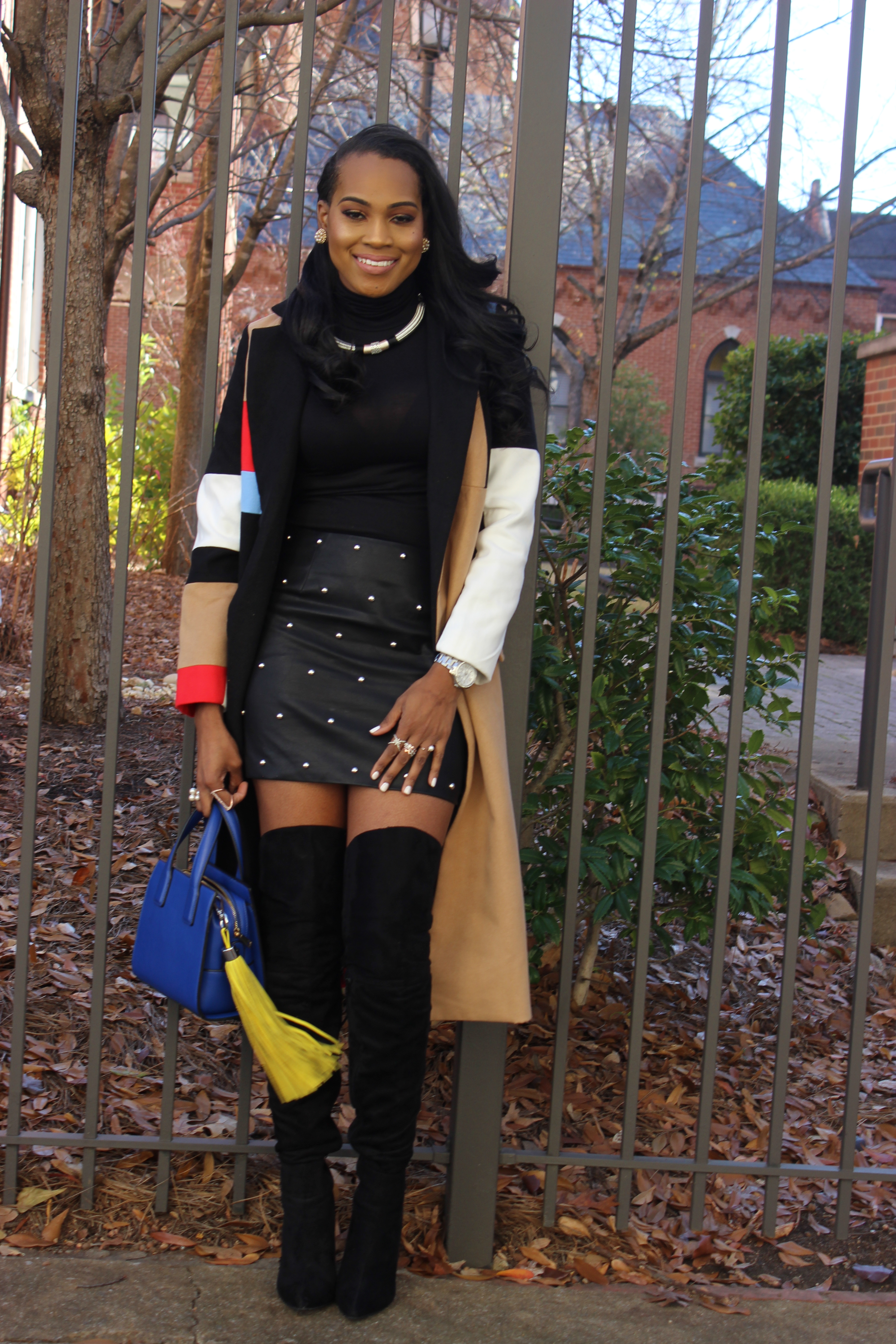 Style-Files-SheIn-Multicolor-Lapel-Color-Block-Coat-Forever21-Faux-Leather-studded-mini-skirt-black-sheer-turtleneck-Truffle-Collection-Over- The-Knee-Lace-Up-Back-High-Heeled-Boots-Hot-Pink-Beanie-Winter-Coat-Style-Guide-Oohlalablog-6