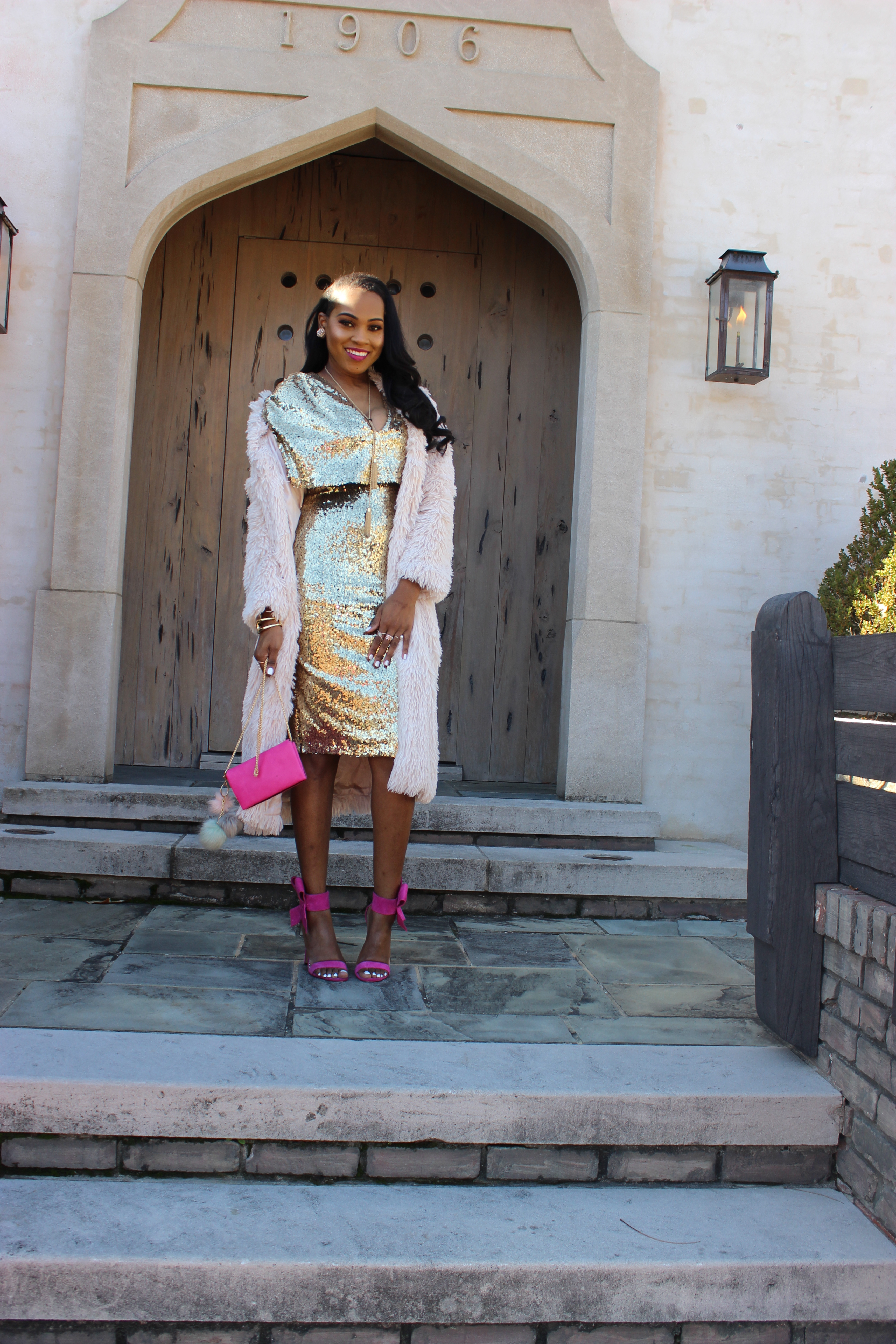 Style-files-Club L-kimono-Sleeve-Midi-Dress-in-Allover-Sequin-With-Center-Split-Hot-pink-Betsey-johnson-bow-sandals-forever21-faux-fur-longline-duster-oohlalablog-4