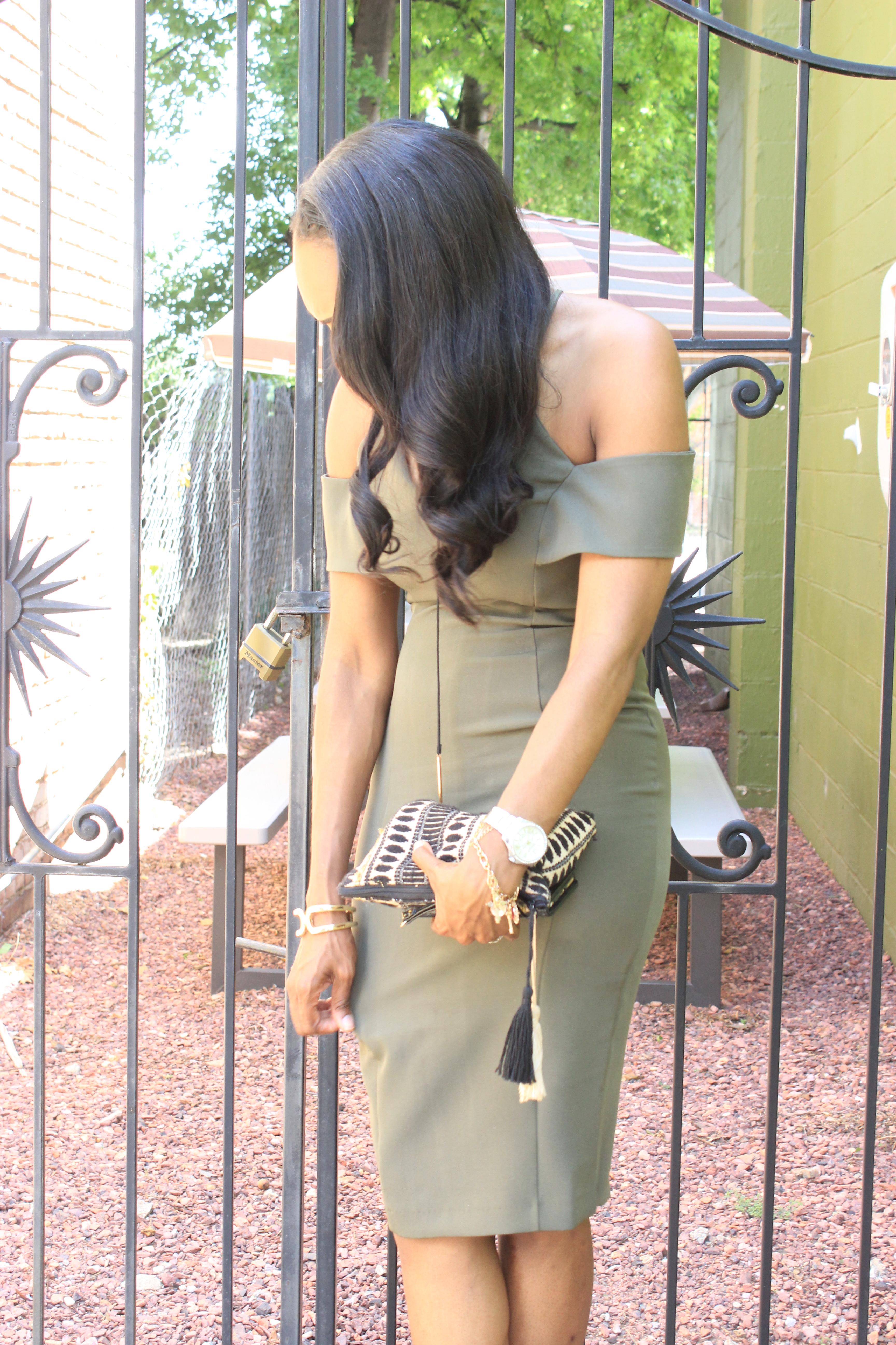 Style-Files-khaki-Vesper Cold-Shoulder-Pencil-Midi-Dress-JustFab-Acacia-Heeled-Sandals-Olive-Green-how to-wear-olive-green-how-to-wear-khaki-oohlalablog-9