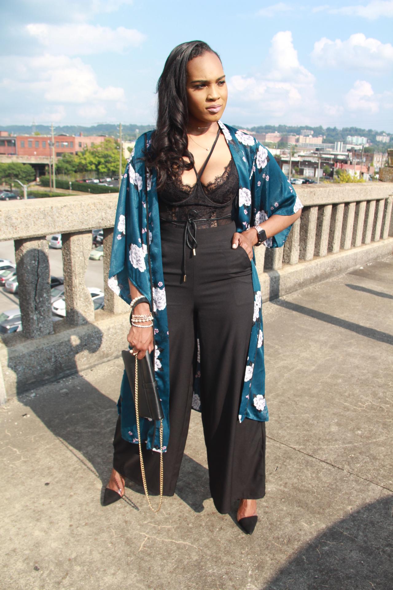 Style-files-Monteau-Green-floral-kimono-Boohoo-Wideleg-pants-zara-pvc-clear-black-pumps-forever21-lace-corset-bodysuit-ooohlalablog-4