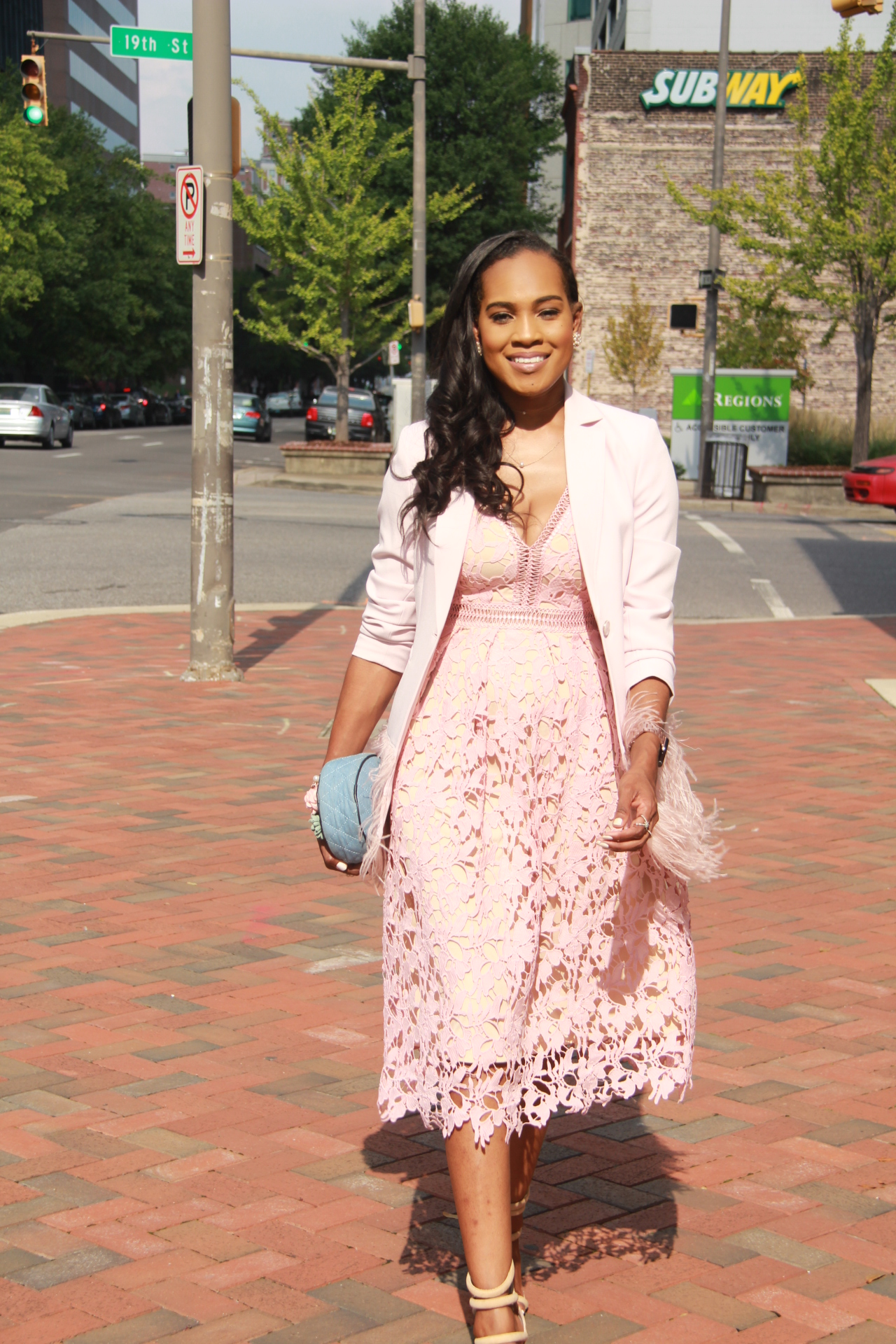 Style-files-Romeo-Juliet-Couture-pink-nude-Deep-V-Lace-Midi-Dress-Nasty-gal-on-a-level-nude-sandals-Gianni Bini-Lizzy-Notch-Lapel-Collar-pink-Feather-Trim-Solid-Crepe Blazer-oohlalablog-11