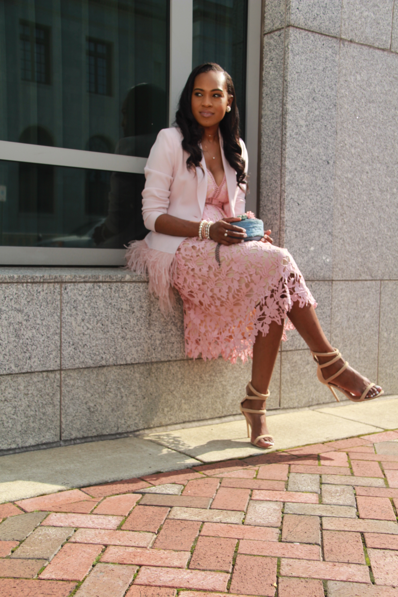 Style-files-Romeo-Juliet-Couture-pink-nude-Deep-V-Lace-Midi-Dress-Nasty-gal-on-a-level-nude-sandals-Gianni Bini-Lizzy-Notch-Lapel-Collar-pink-Feather-Trim-Solid-Crepe Blazer-oohlalablog-6