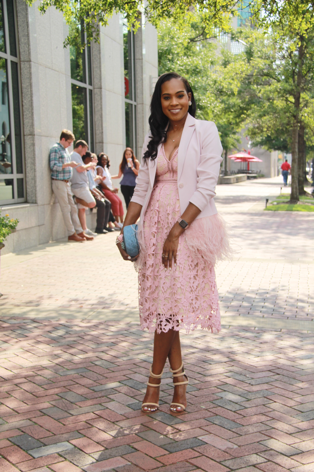 Style-files-Romeo-Juliet-Couture-pink-nude-Deep-V-Lace-Midi-Dress-Nasty-gal-on-a-level-nude-sandals-Gianni Bini-Lizzy-Notch-Lapel-Collar-pink-Feather-Trim-Solid-Crepe Blazer-oohlalablog-9