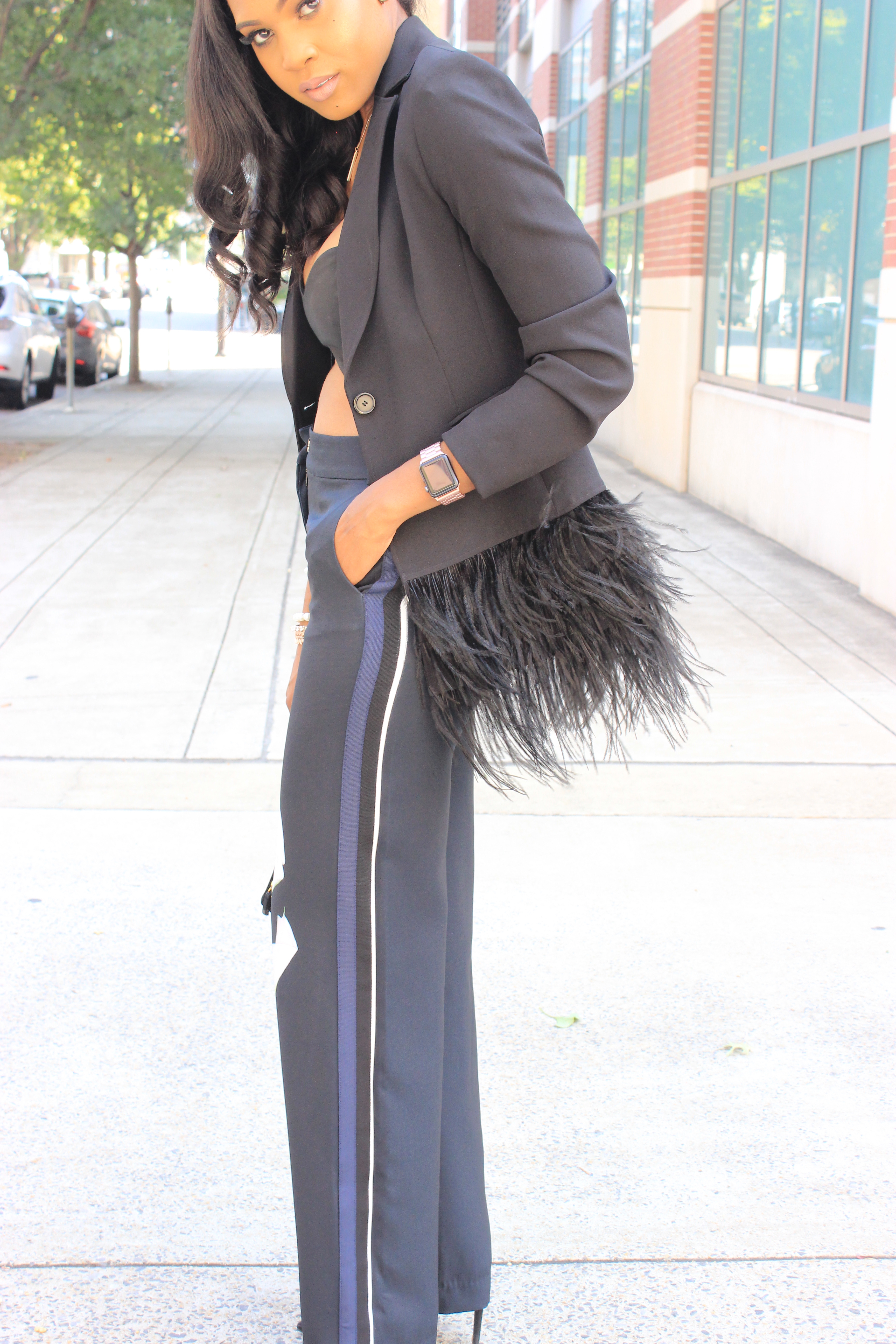Style-files-Victoria-Beckham-for-Target-Black-Satin-Calla-Lily-Wide-Leg-Pant-nasty-gal-bandeau-top-zara-clear-pvc-pumps-Gianni Bini-Lizzy-Notch-Lapel-Collar-Feather-Trim-Solid-Crepe Blazer-oohlalablog-36