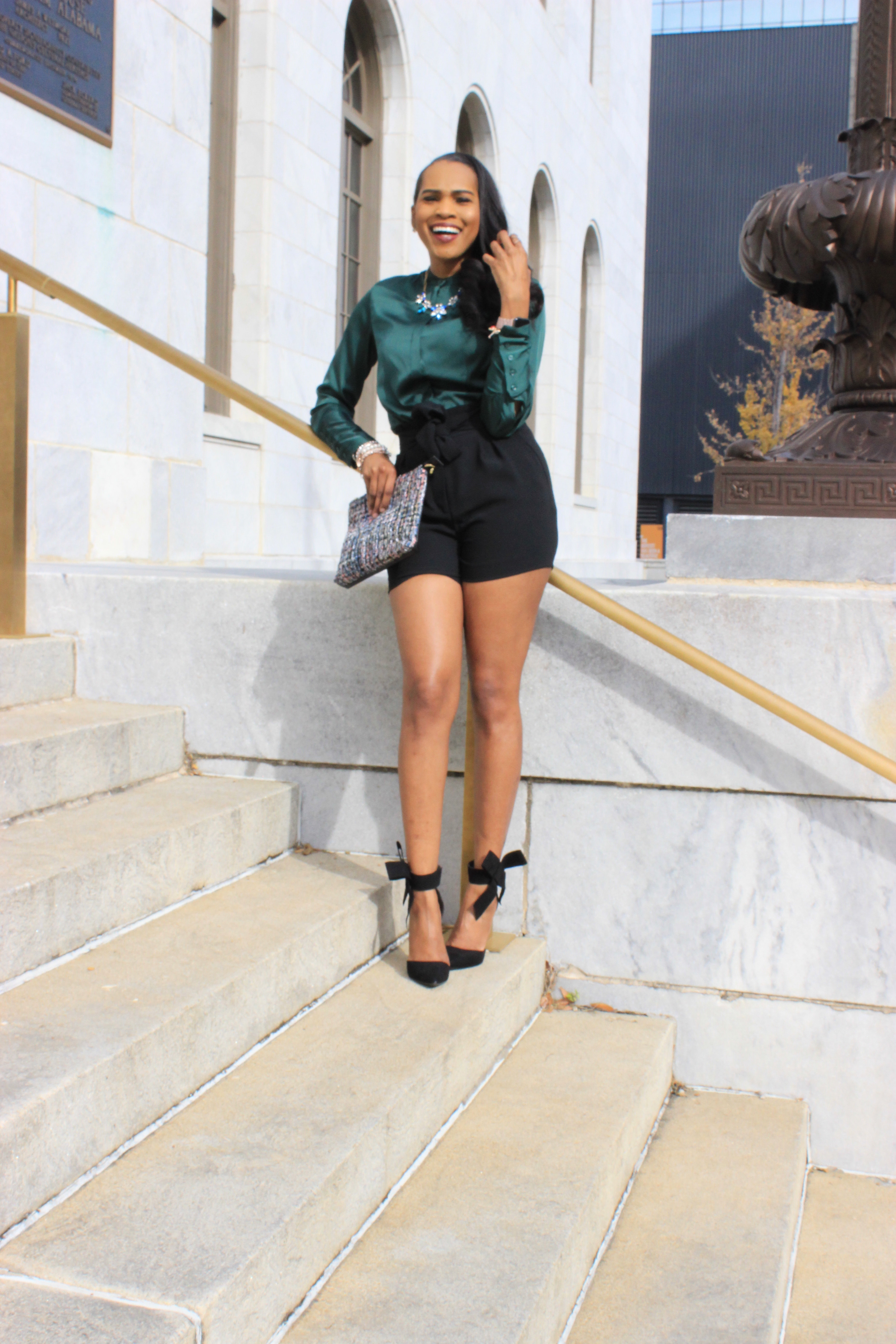 Style-Files-HM-Dark-Green-Satin-button-front-blouse-black-hm-tie-front-shorts-justfab-black-Giada-bow-heels- Gianni-Bini-Lizzy-Notch-Lapel-Collar- with-feather-hem-christmas-style-inspiration-what-to-wear-duirng-the-holidays-oohlalablog-9