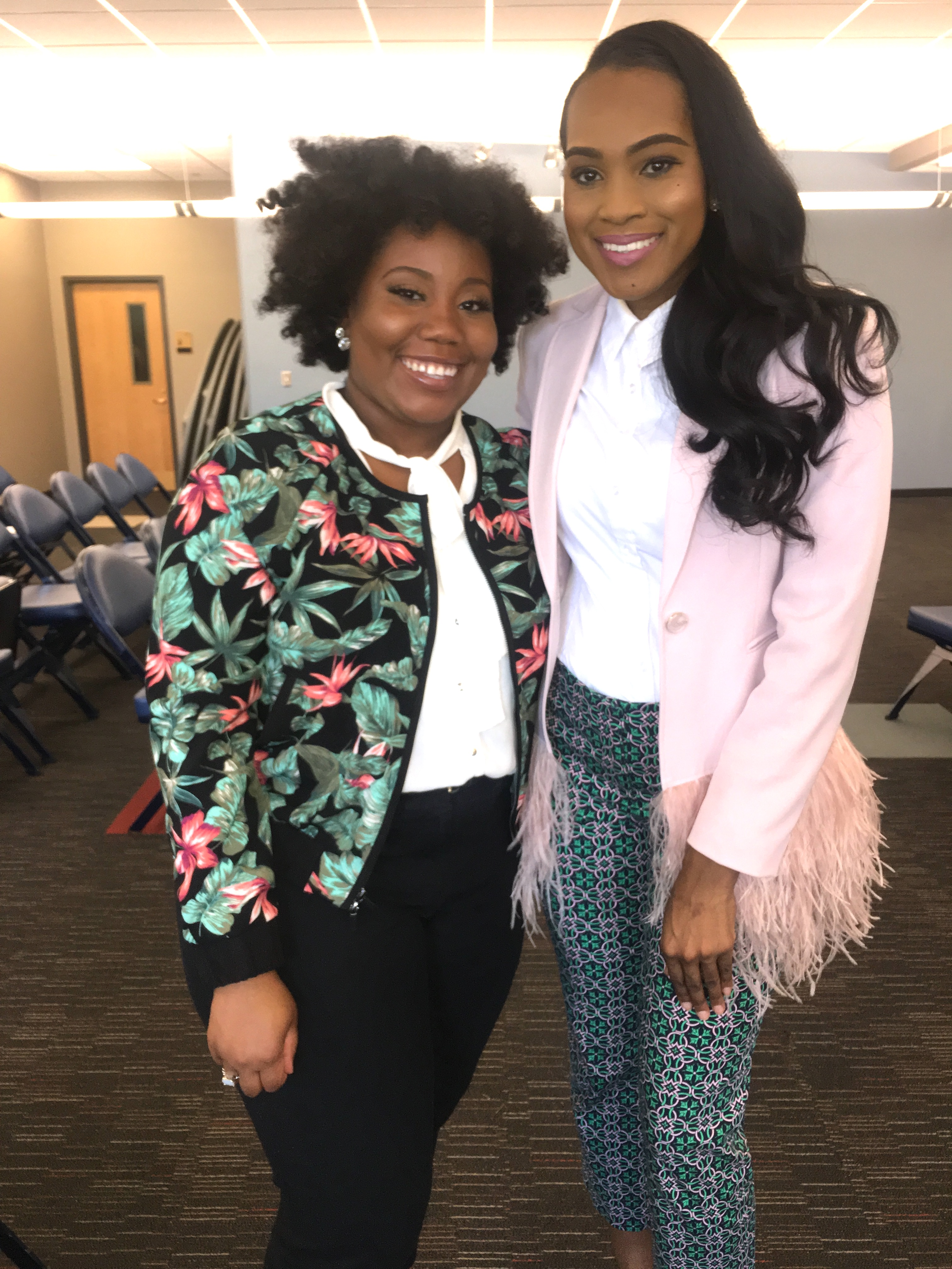 Style-Files-Thrifted-Printed-Jcrew-ankle-pants- white-thrifted-blouse-Pink-Gianni-Bini-Lizzy-Notch-Lapel-Collar-Feather-Trim-Solid-Crepe-Blazer-feather-hem-blazer-Birmingham-Association-of-black-journalist-college-panel-event-oohlalablog-10