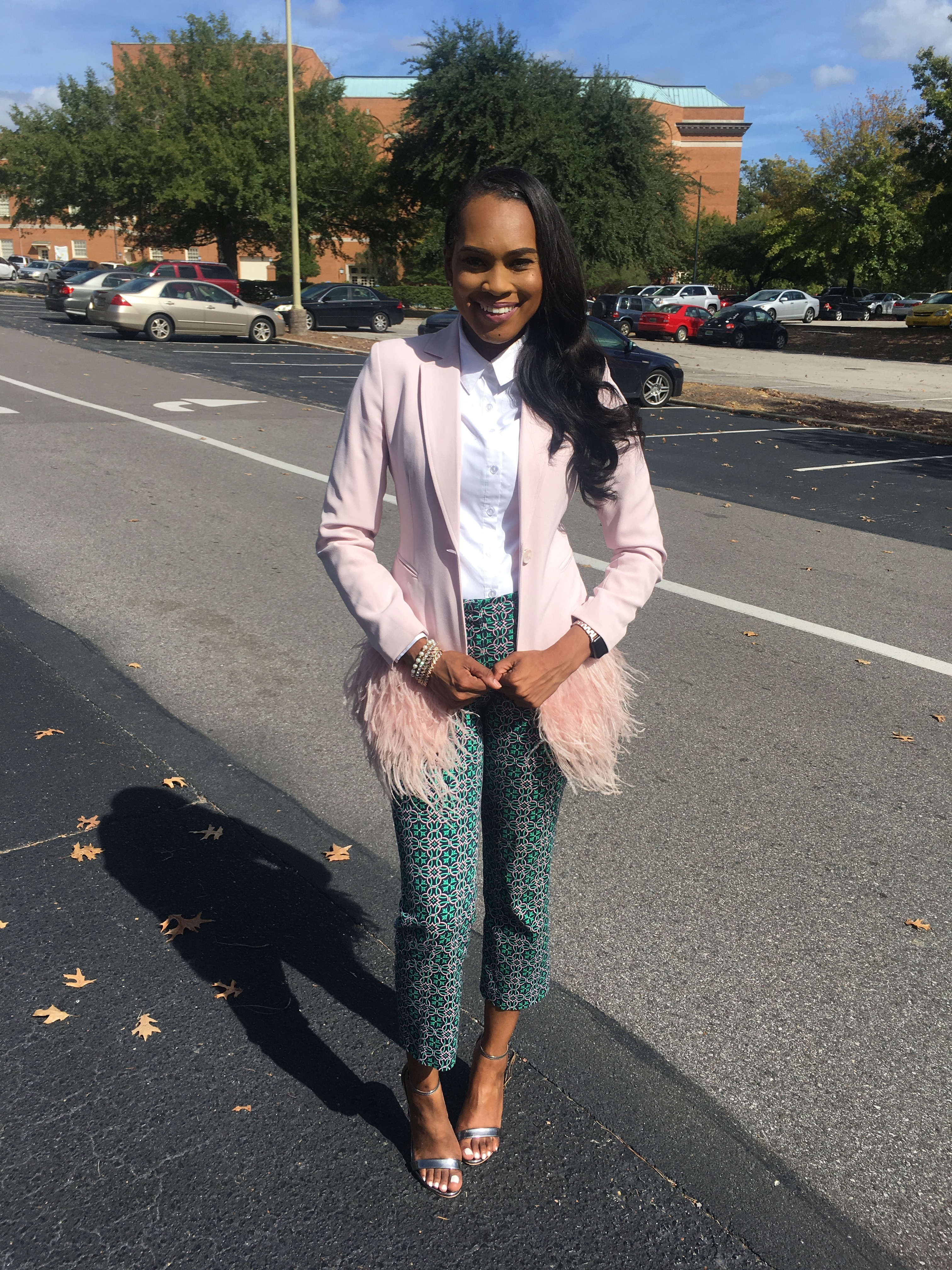 Style-Files-Thrifted-Printed-Jcrew-ankle-pants- white-thrifted-blouse-Pink-Gianni-Bini-Lizzy-Notch-Lapel-Collar-Feather-Trim-Solid-Crepe-Blazer-feather-hem-blazer-Birmingham-Association-of-black-journalist-college-panel-event-oohlalablog-14