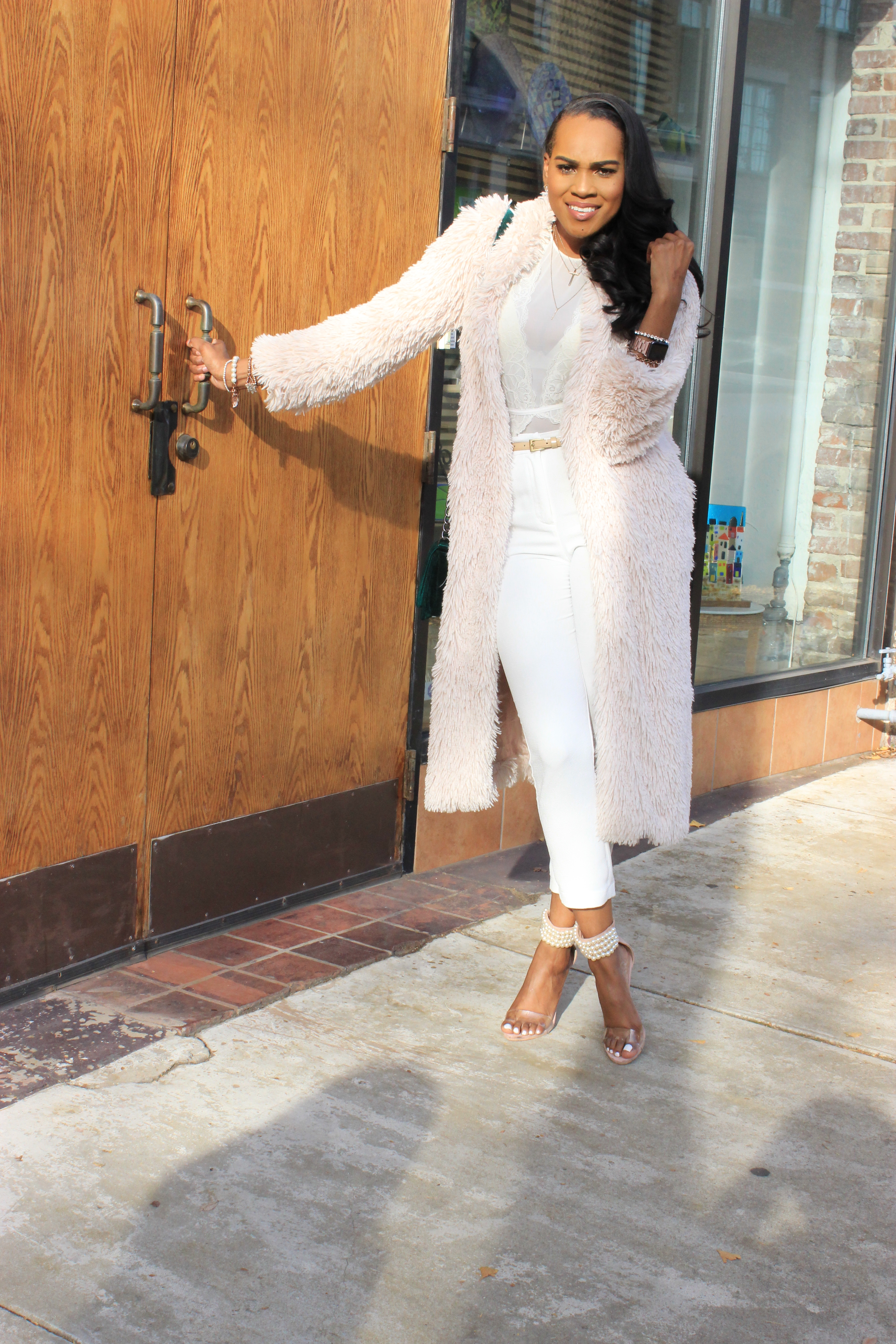 Style-files-flora by flora nikrooz mesh white bodysuit-Sophie-Rue-White-ankle-length-pants-forever21-faux-fur-duster-missguided-Nude-Pearl-Strap-Heels-Oohlalablog-20
