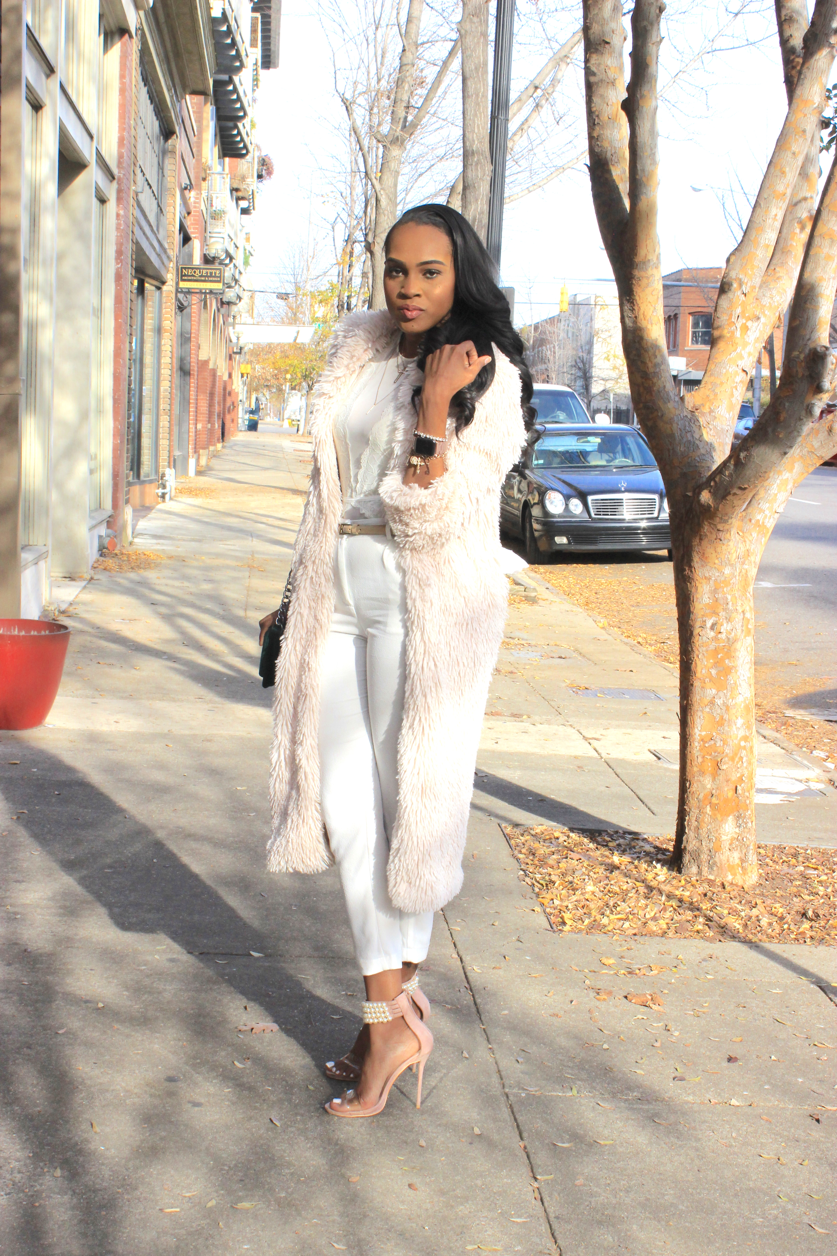 Style-files-flora by flora nikrooz mesh white bodysuit-Sophie-Rue-White-ankle-length-pants-forever21-faux-fur-duster-missguided-Nude-Pearl-Strap-Heels-Oohlalablog-23