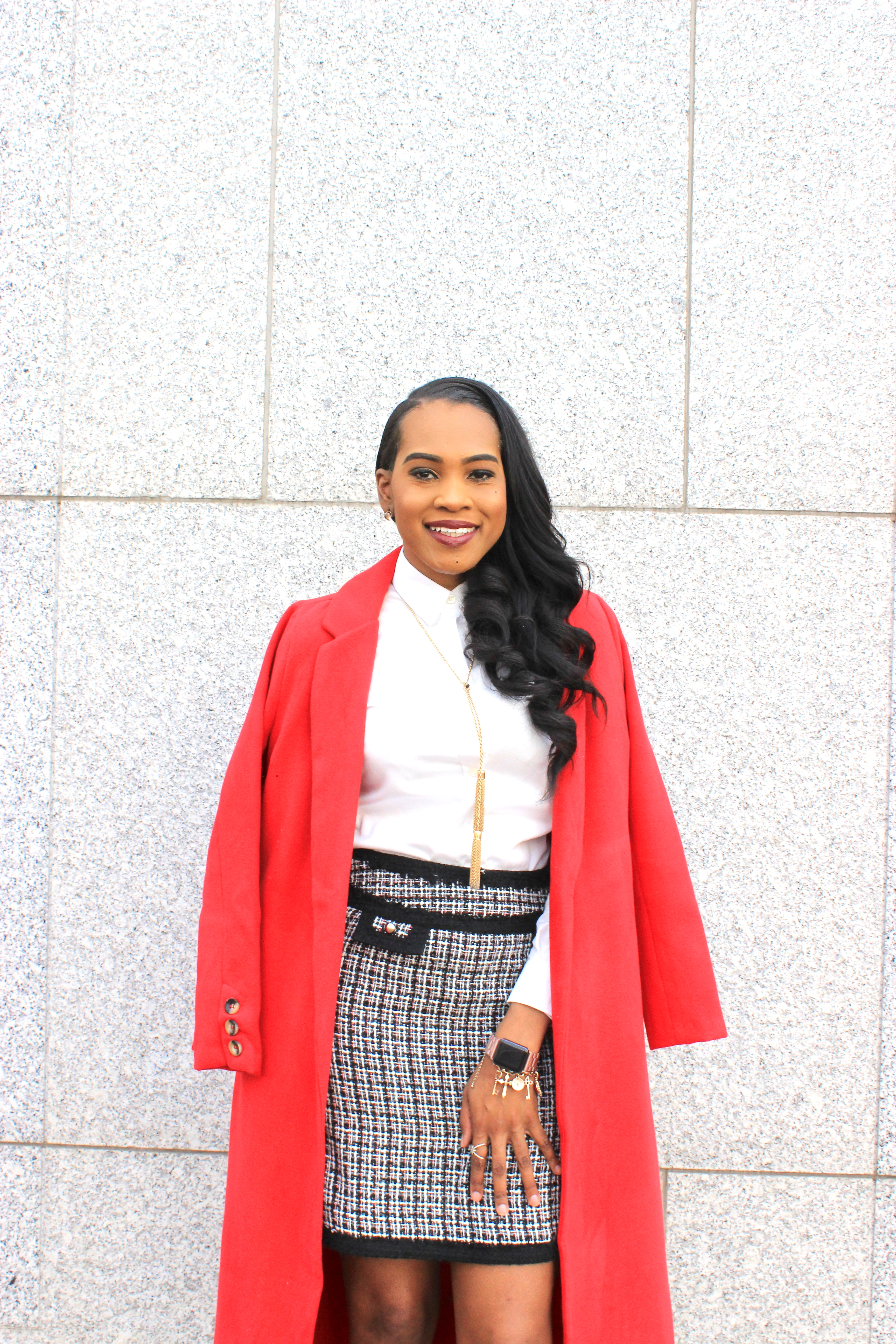 Style-files-thrifted-plaid-white-black-house-market-skirt-white-banna-republic-button-front-blouse-justfab-Scarlet Sage-wrap-coat-justfab-teal-velvet-Acacia Heeled Sandals-oohlalablog-2