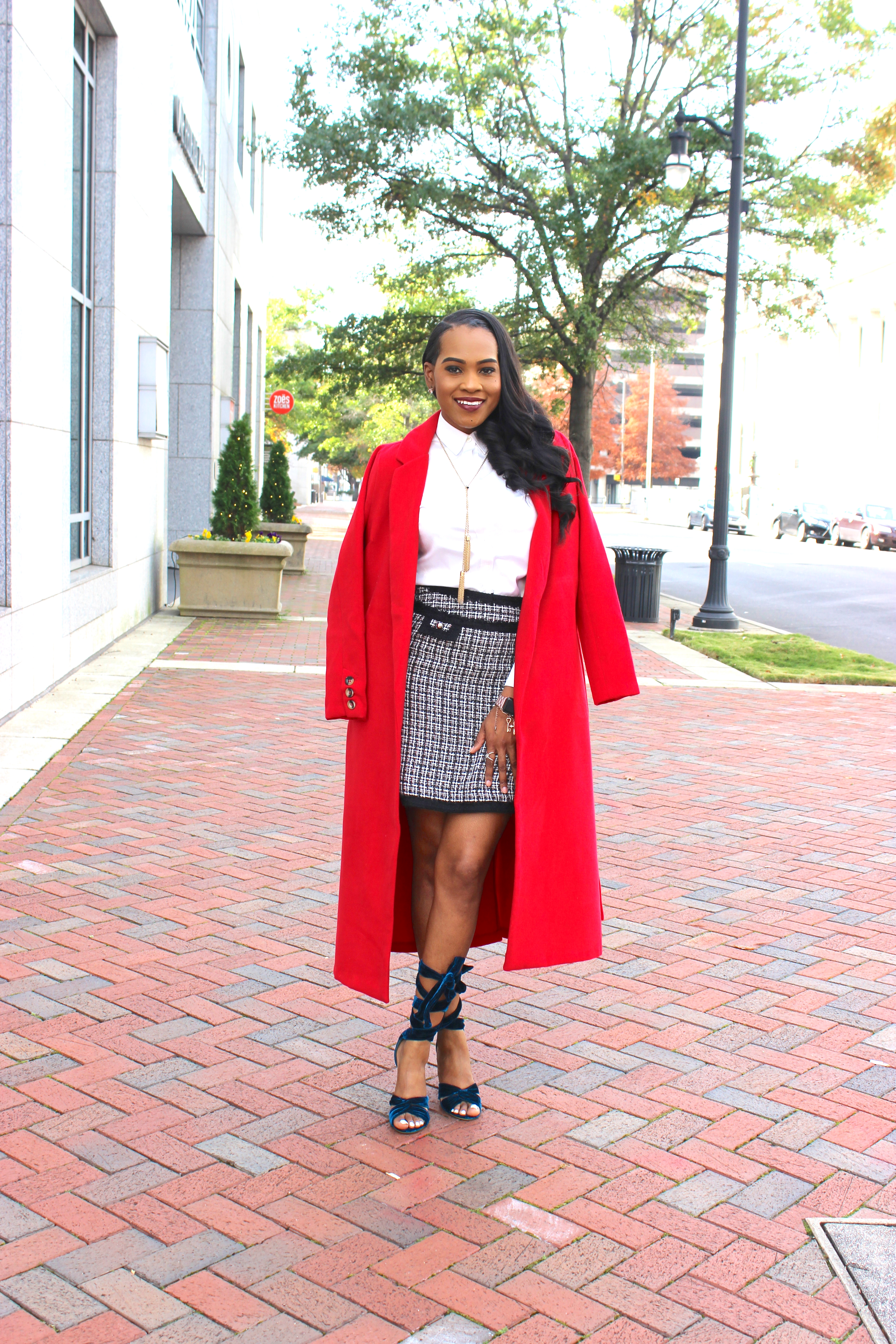 Style-files-thrifted-plaid-white-black-house-market-skirt-white-banna-republic-button-front-blouse-justfab-Scarlet Sage-wrap-coat-justfab-teal-velvet-Acacia Heeled Sandals-oohlalablog-8