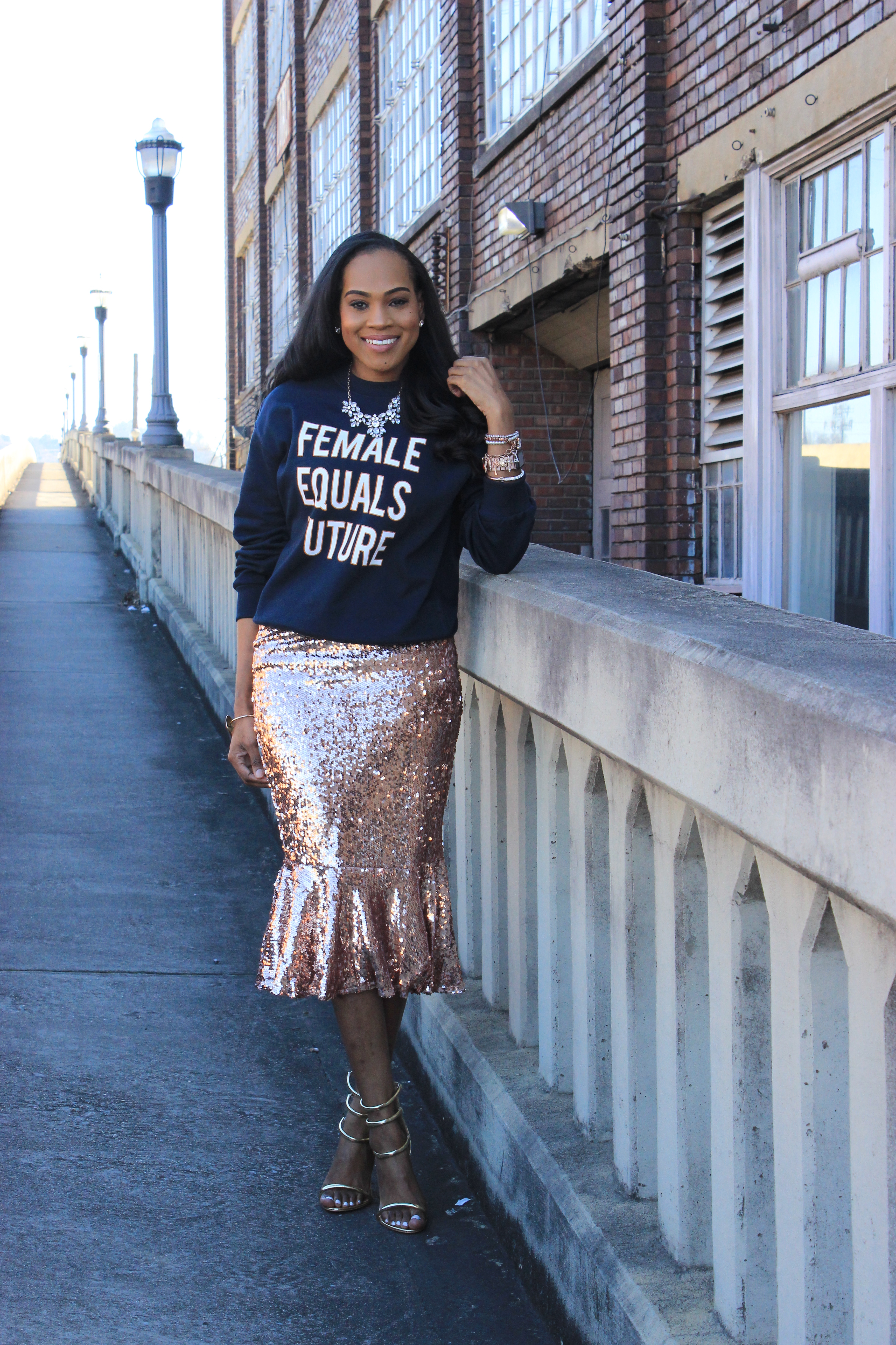 Style-Files-HM-Female-Equals-Future-Oversized-Sweatshirt-Boohoo-Rose-Gold-Sequin-Skirt-Trumpet-Hem-boohoo-Jasmine- Sequin-Ruffle-Hem-Midi Skirt-Public-Desire-Aisha-Gold-Strappy-Heeled- Sandals-Miss-Selfridge-Tailored-Hot-Pink-Jacket-oohlalablog-