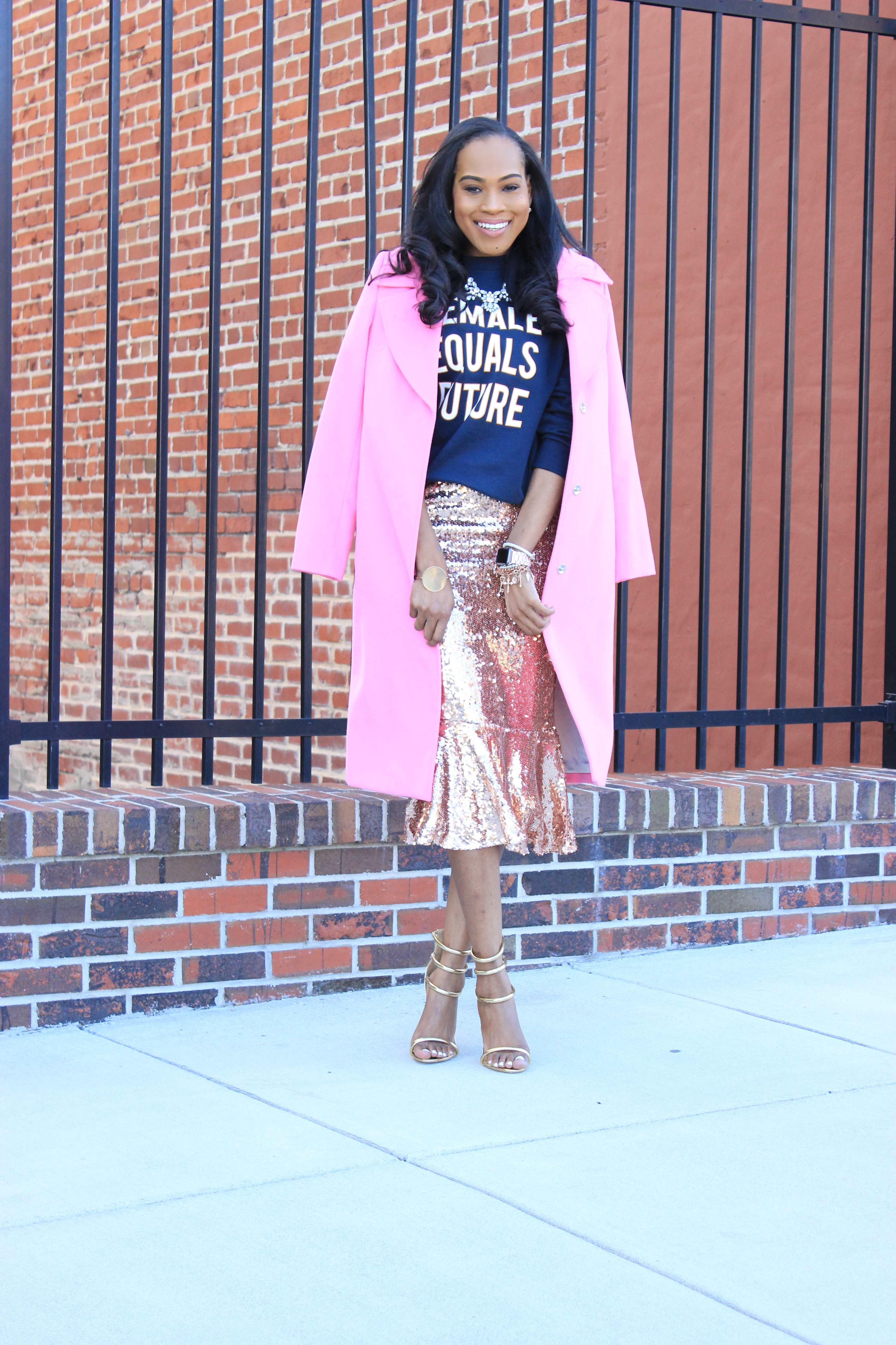 Style-Files-HM-Female-Equals-Future-Oversized-Sweatshirt-Boohoo-Rose-Gold-Sequin-Skirt-Trumpet-Hem-boohoo-Jasmine- Sequin-Ruffle-Hem-Midi Skirt-Public-Desire-Aisha-Gold-Strappy-Heeled- Sandals-Miss-Selfridge-Tailored-Hot-Pink-Jacket-oohlalablog-10