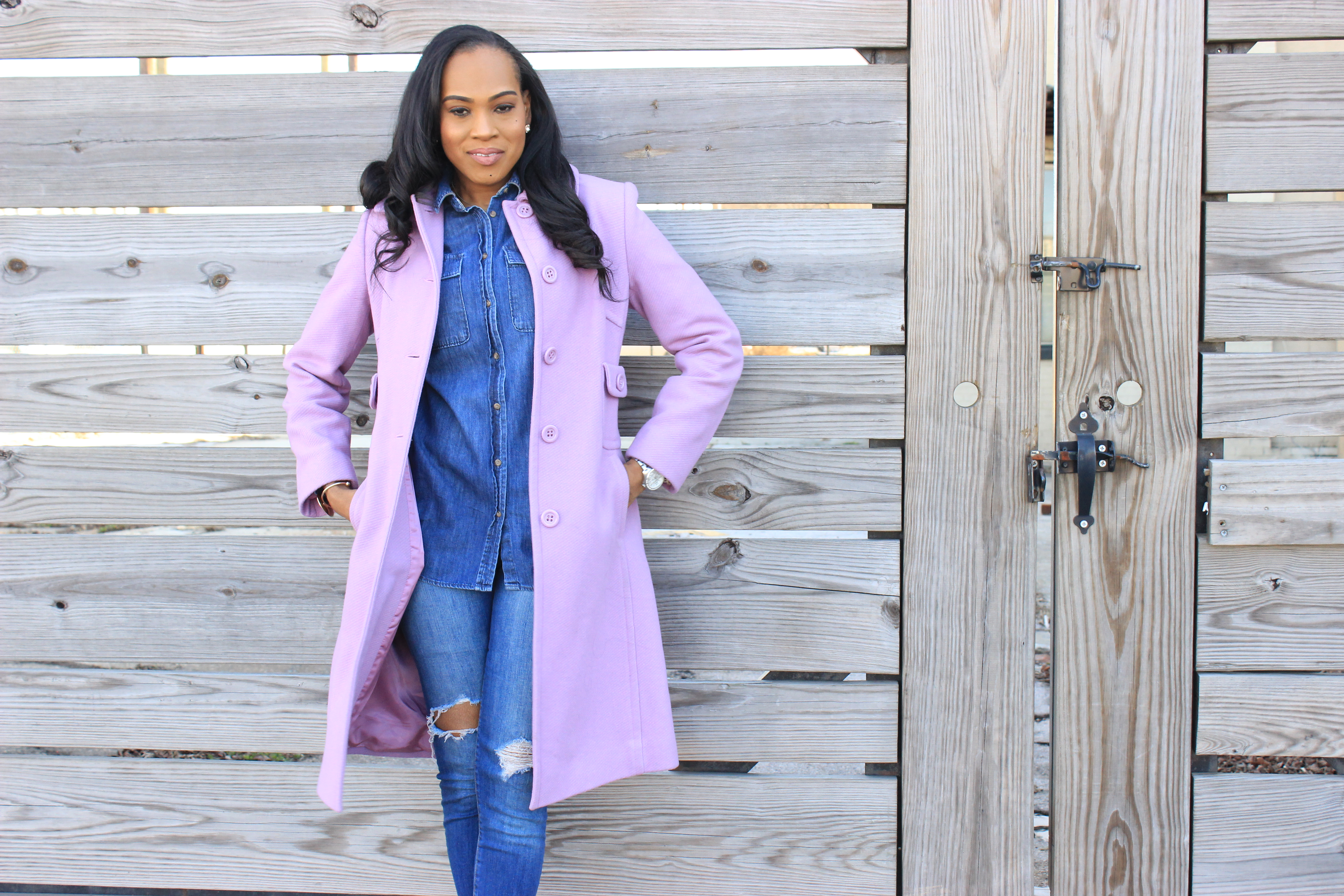 Style-Files-Merona-Denim-Button-front-shirt-distressed-denim- jeans- Lavender-Ninewest-wool-coat-silver-metallic-asos-picture-perfect-pointed-toe-heels-how-to-wear-denim-on-denim-oohlalablog-7