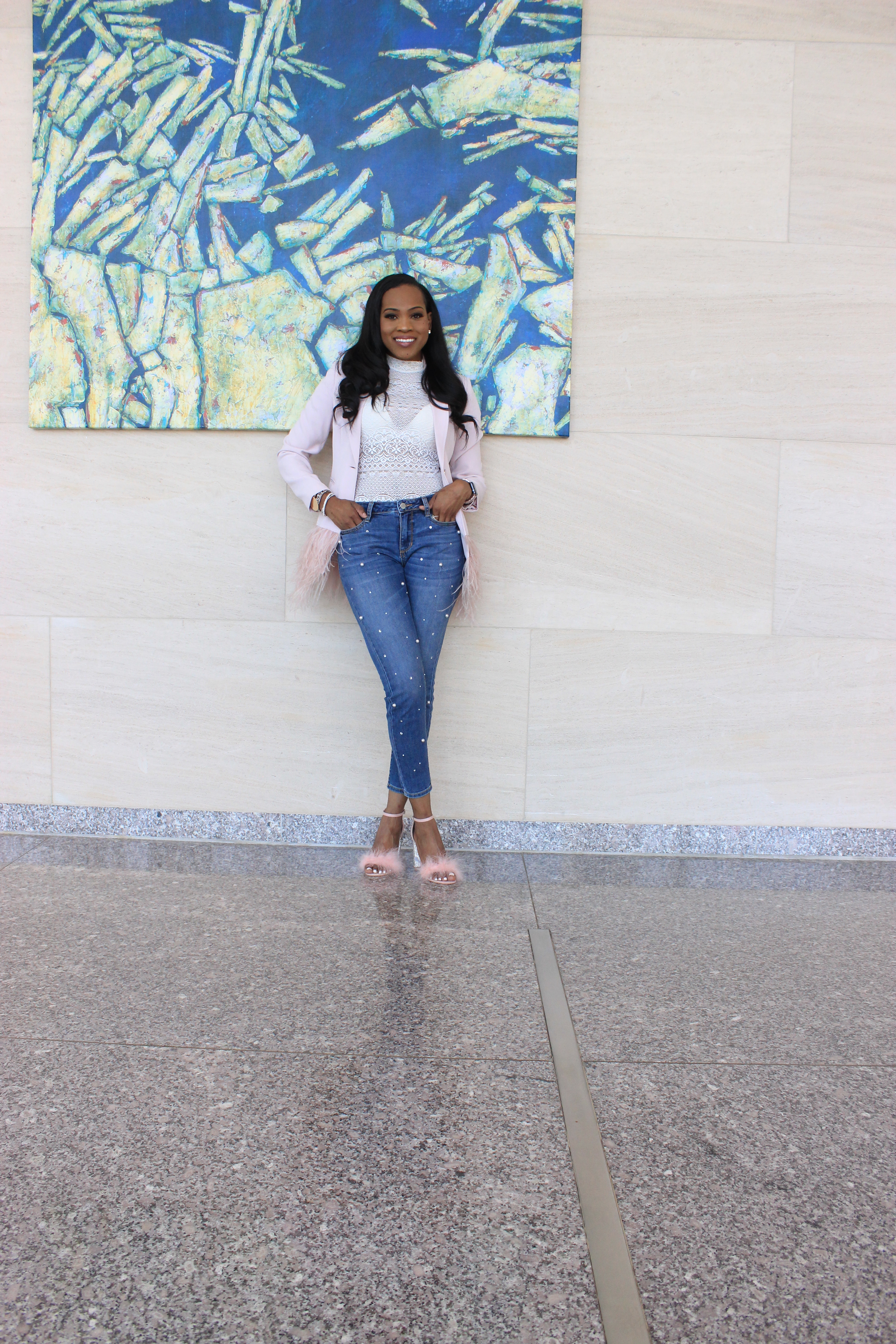 Style-files-Forver21-Semi-Sheer Lace Bodysuit-Alabama-top-blogger-birmingham-top-blogger-Missguided-Women- Pink Glitter-And-Feather-Block- Heel-Sandals-Gianni-Bini- Feather-Trim-Blazer-ANA-Pearl-Embellished-Skinny Jeans-2