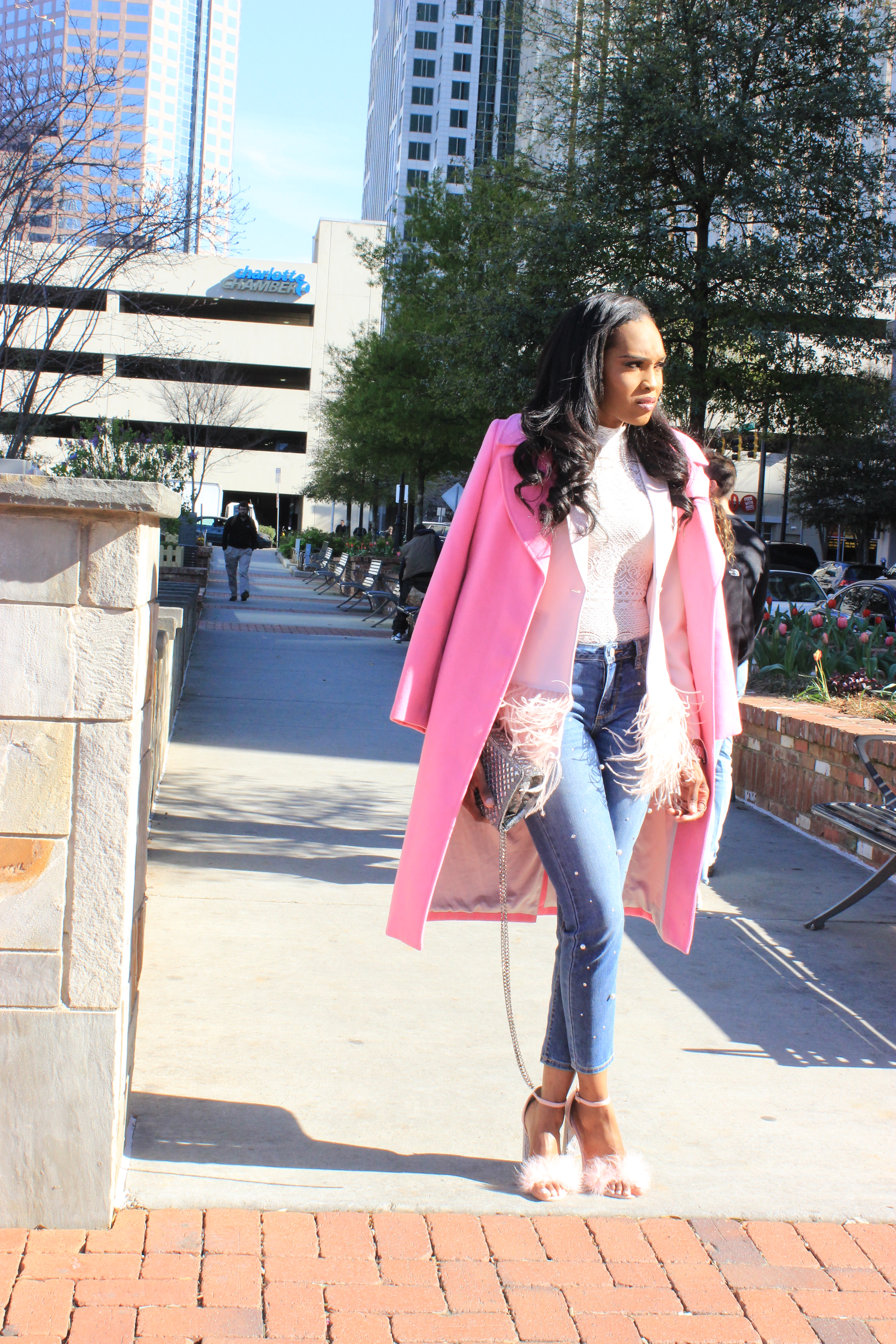 Style-files-Forver21-Semi-Sheer Lace Bodysuit-Alabama-top-blogger-birmingham-top-blogger-Missguided-Women- Pink Glitter-And-Feather-Block- Heel-Sandals-Gianni-Bini- Feather-Trim-Blazer-ANA-Pearl-Embellished-Skinny Jeans-4