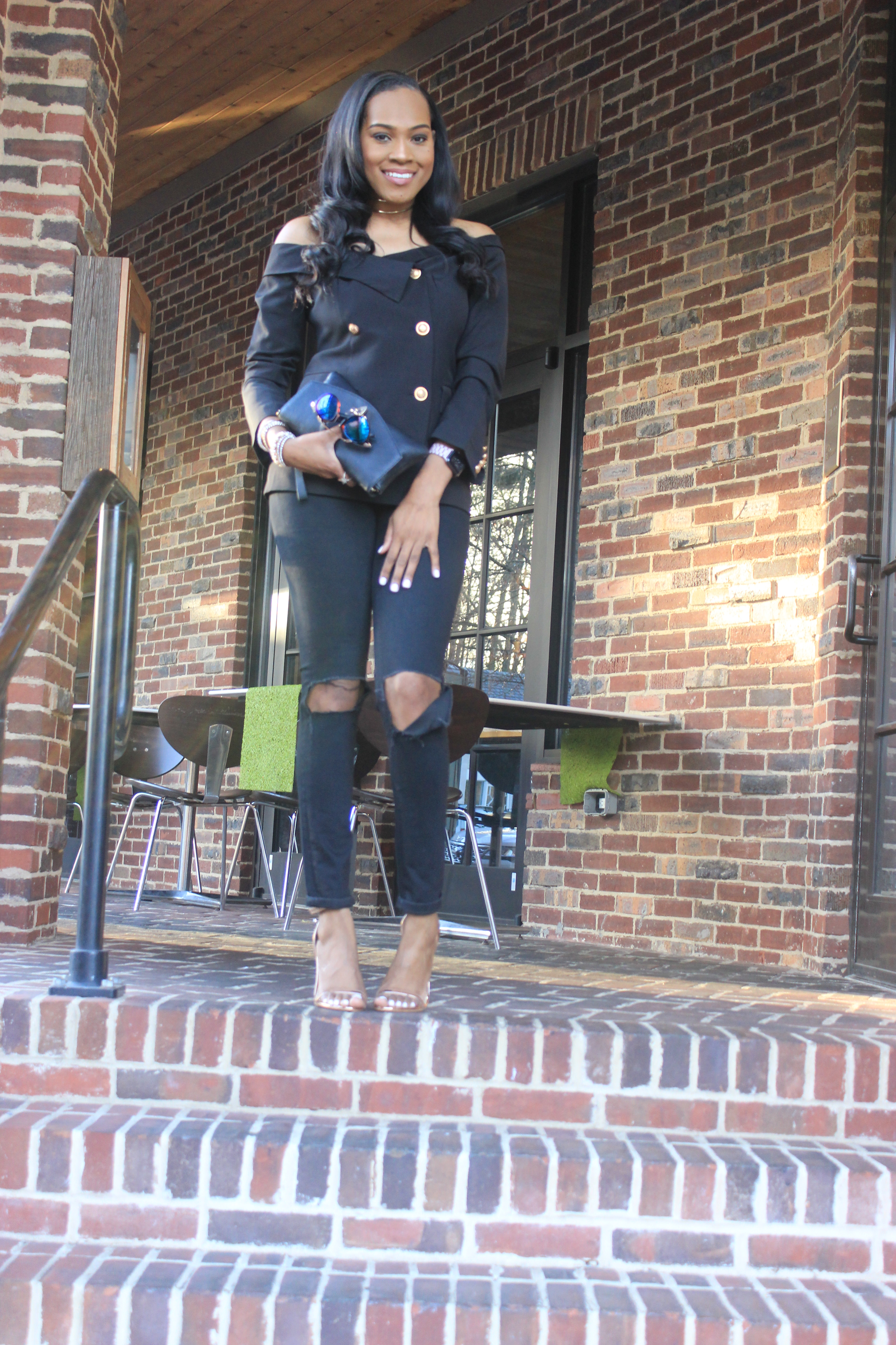 Style-files-shein-Bardot Fold-Over-Military- Blazer-thrifted-loft-black-distressed-jeans-forever21-chain-link-clutch-truffle-rose-gold heel-sandals-oohlalablog-19