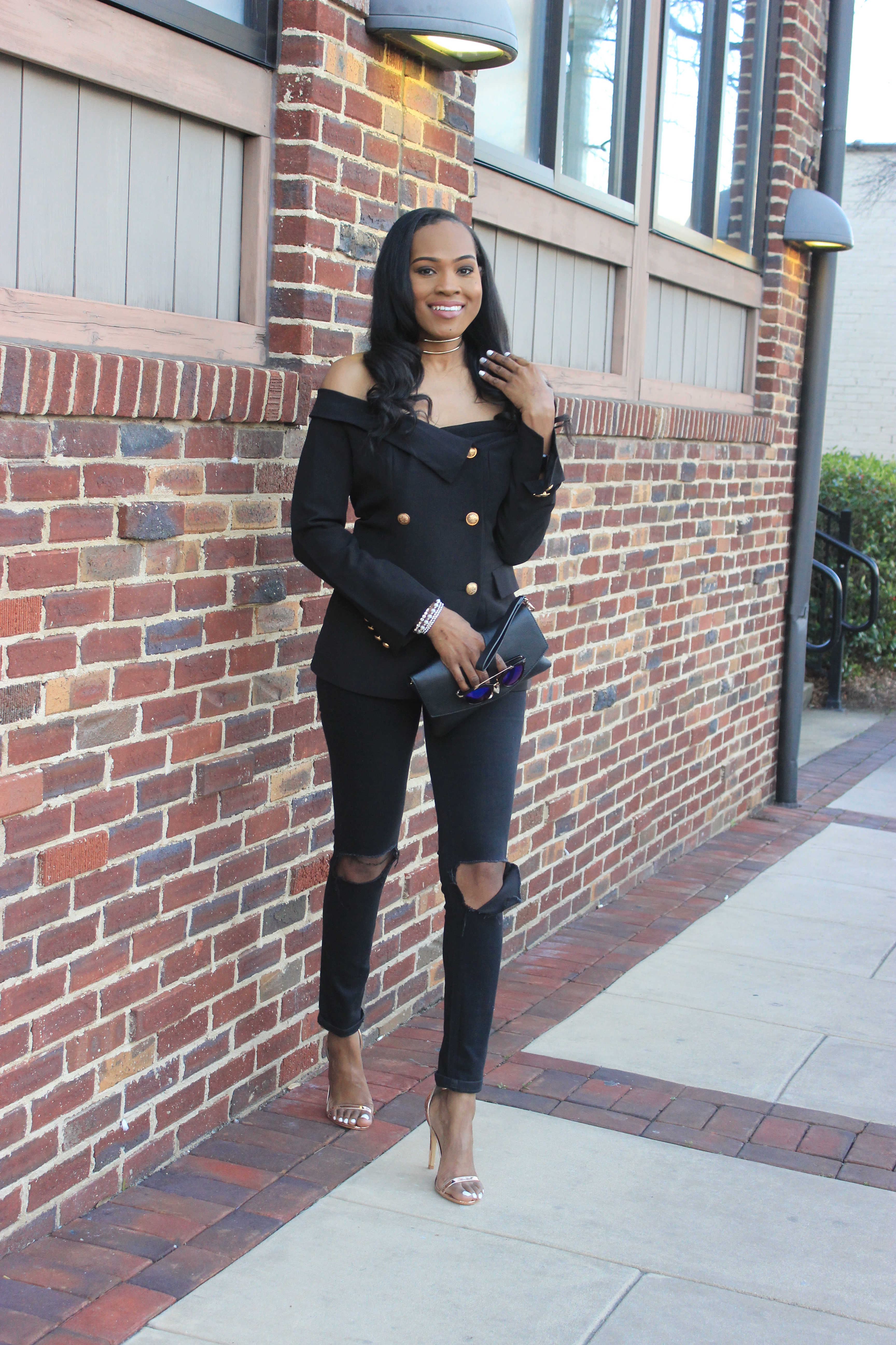 Style-files-shein-Bardot Fold-Over-Military- Blazer-thrifted-loft-black-distressed-jeans-forever21-chain-link-clutch-truffle-rose-gold heel-sandals-oohlalablog-33