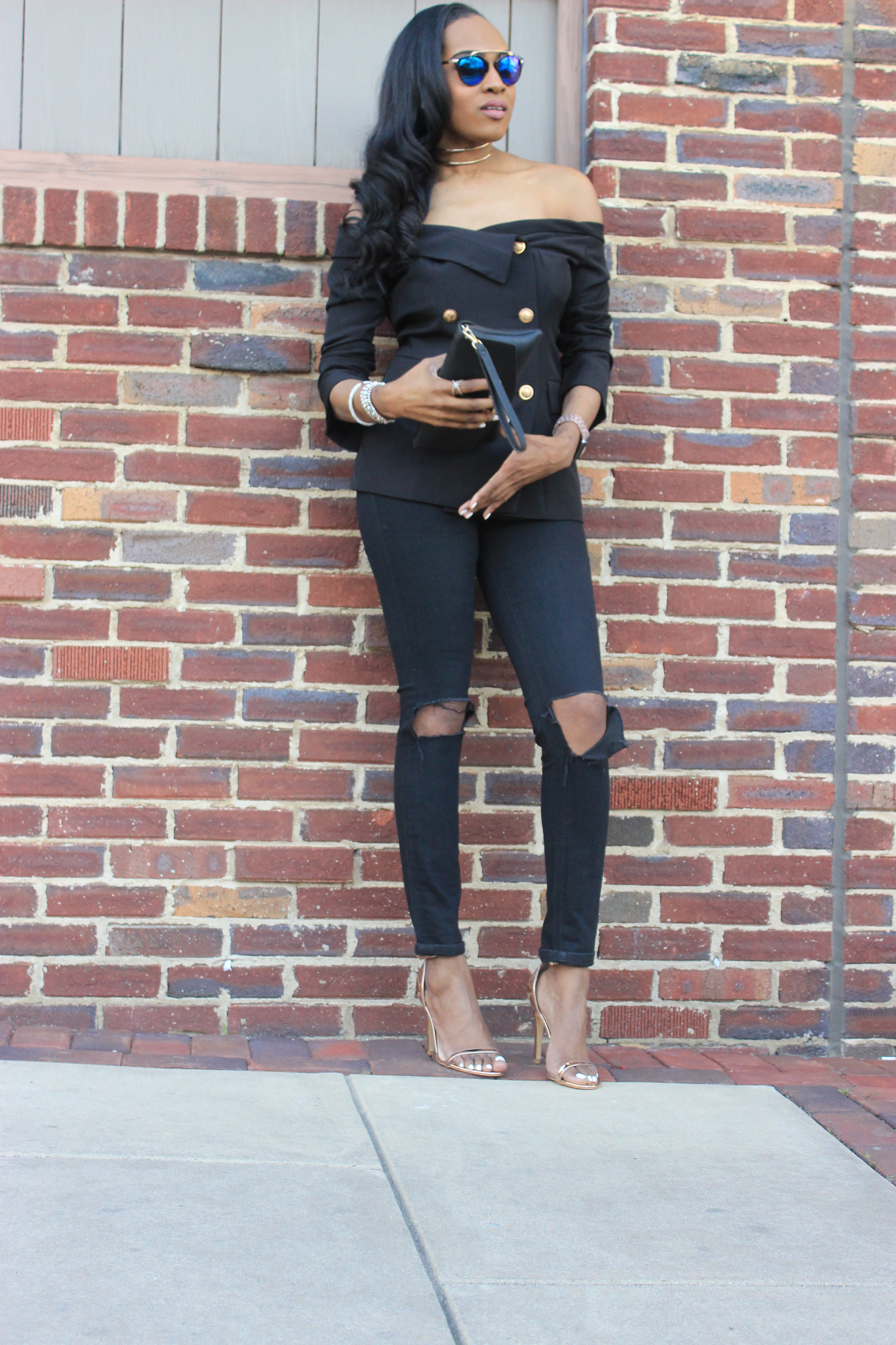 Style-files-shein-Bardot Fold-Over-Military- Blazer-thrifted-loft-black-distressed-jeans-forever21-chain-link-clutch-truffle-rose-gold heel-sandals-oohlalablog-40