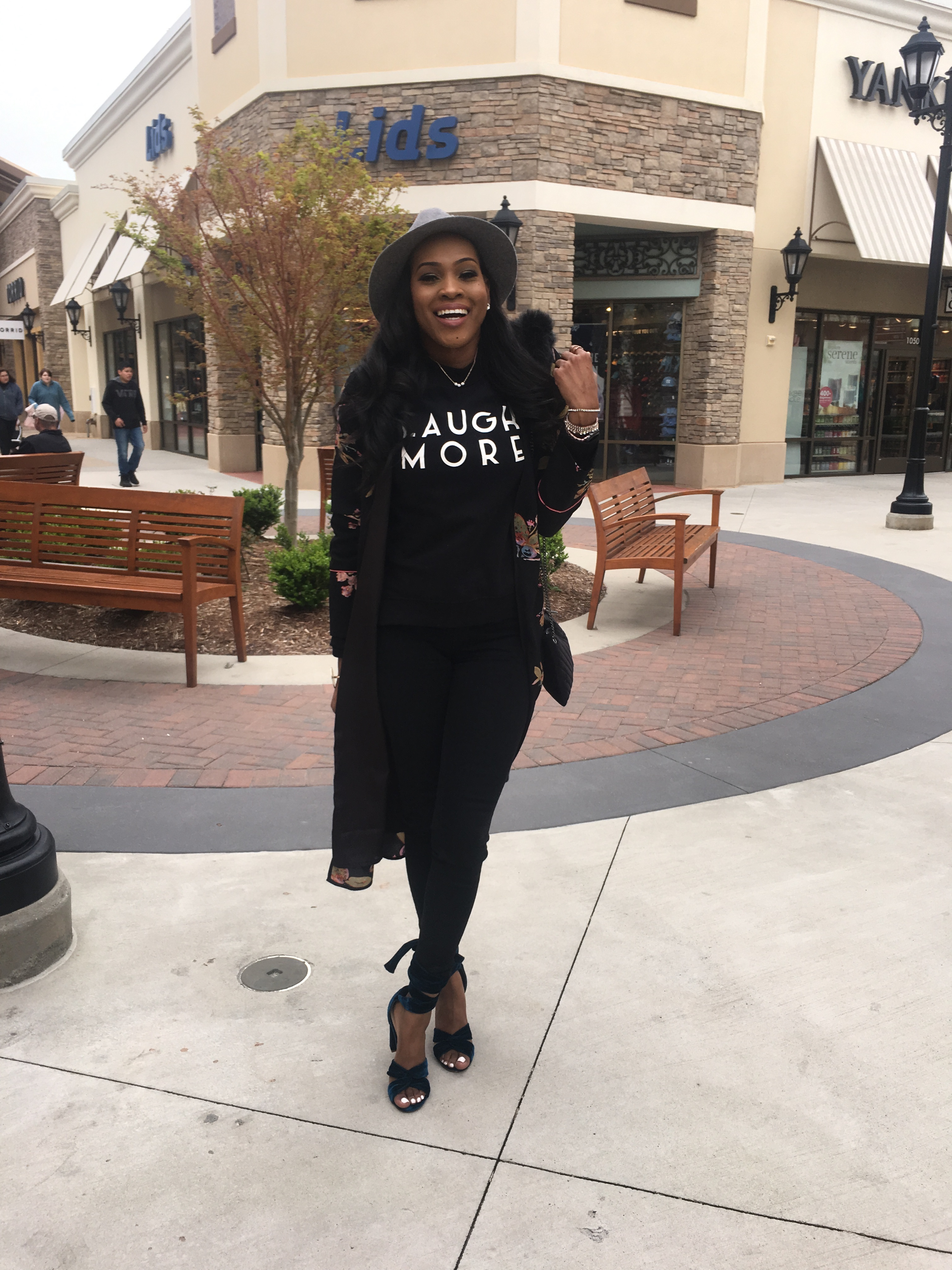 Style-Files-Black-floral-kimono-black-denim-jeans-HM-laugh-more-sweatshirt-justfab-teal-velvet-Acacia Heeled Sandals-Topgolf Charlotte-review-birmingham-top-bloggers-alabama-style-bloggers-oohlalablog-29