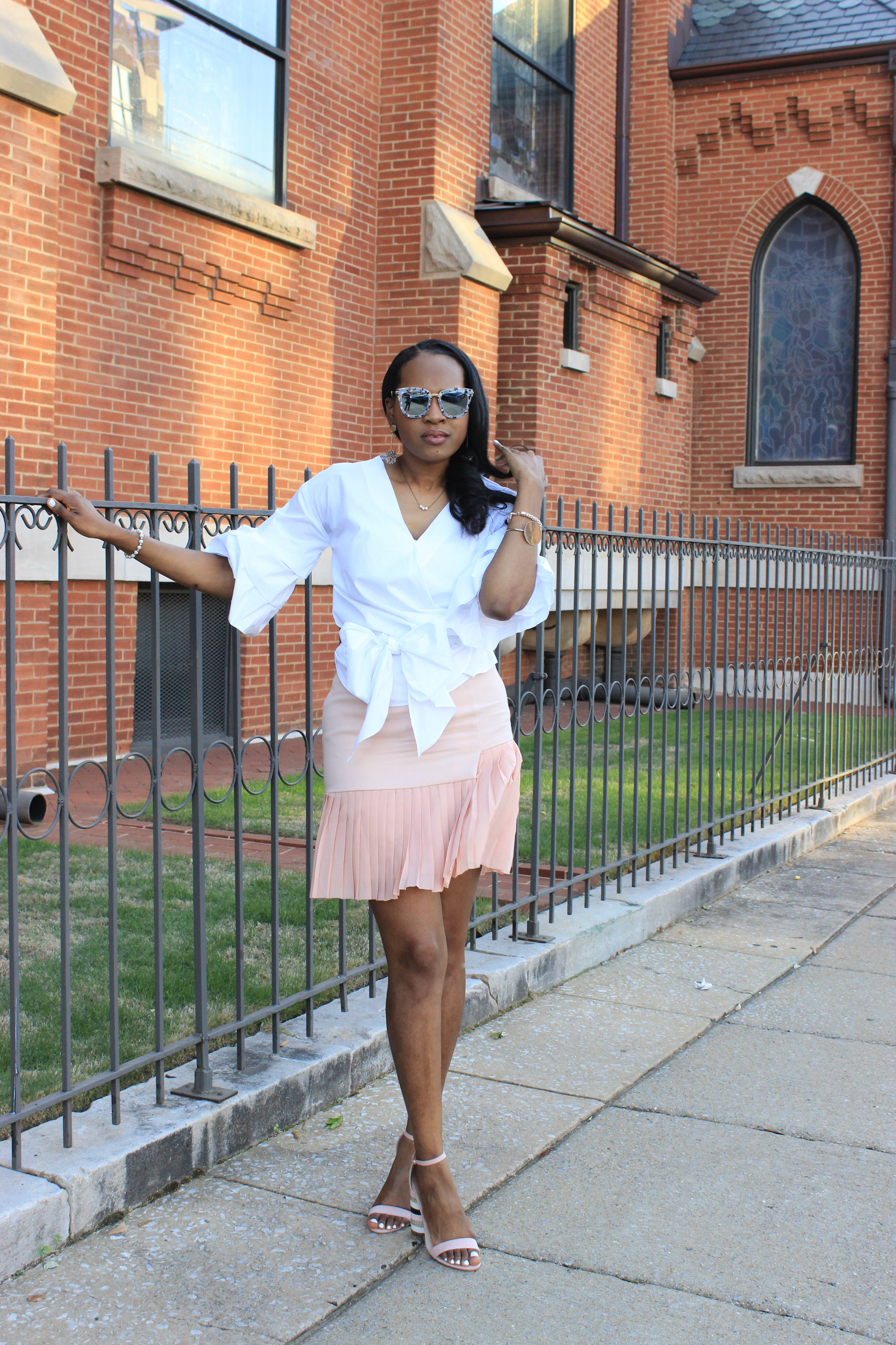 White-puff-sleeve-wrap-blouse-pink-pleated-mini-skirt-justfab-salona-cylinder-heel-sandals-top-Birmingham-blogger-Alabama-bloggers-oohlalablog-