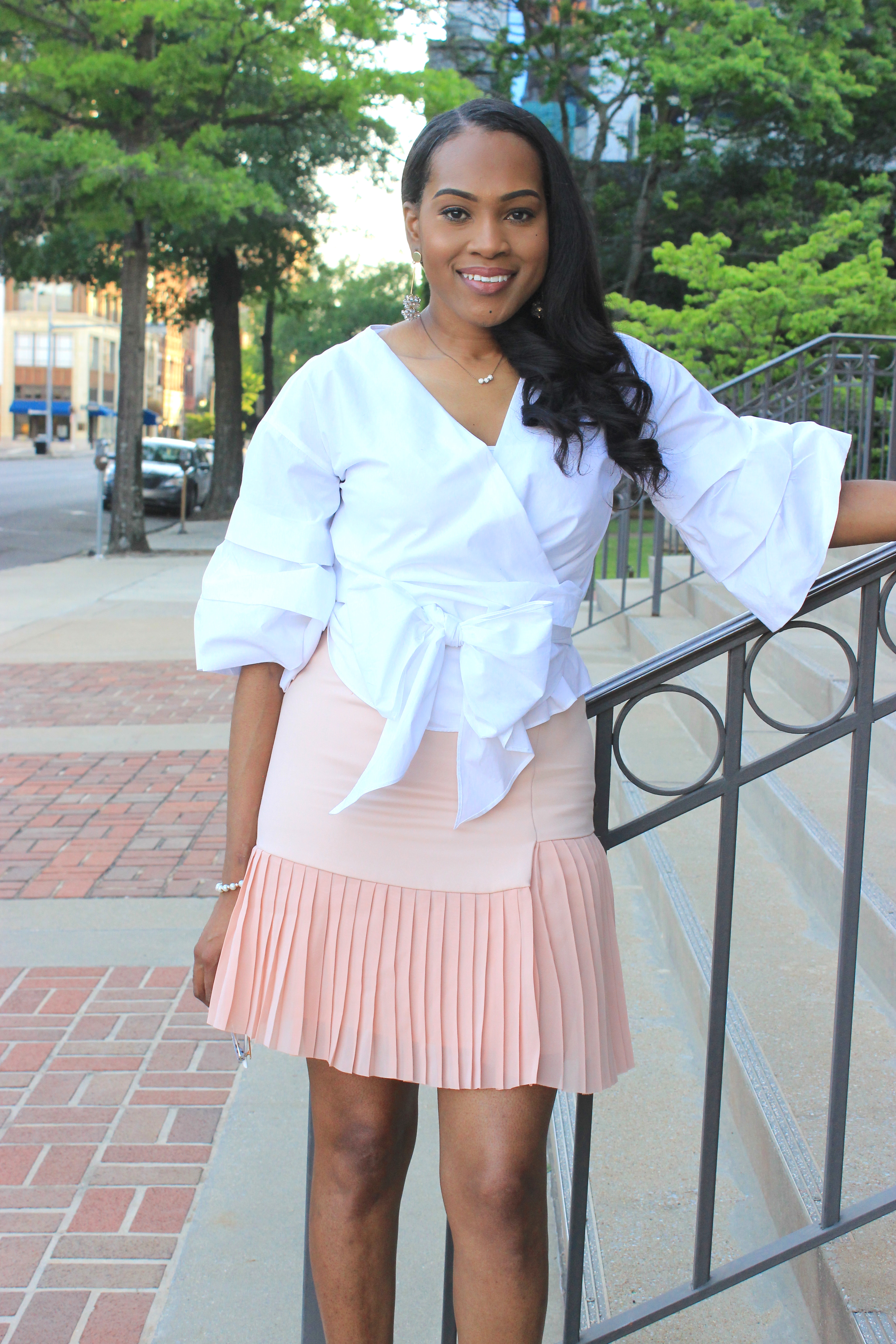White-puff-sleeve-wrap-blouse-pink-pleated-mini-skirt-justfab-salona-cylinder-heel-sandals-top-Birmingham-blogger-Alabama-bloggers-oohlalablog-11