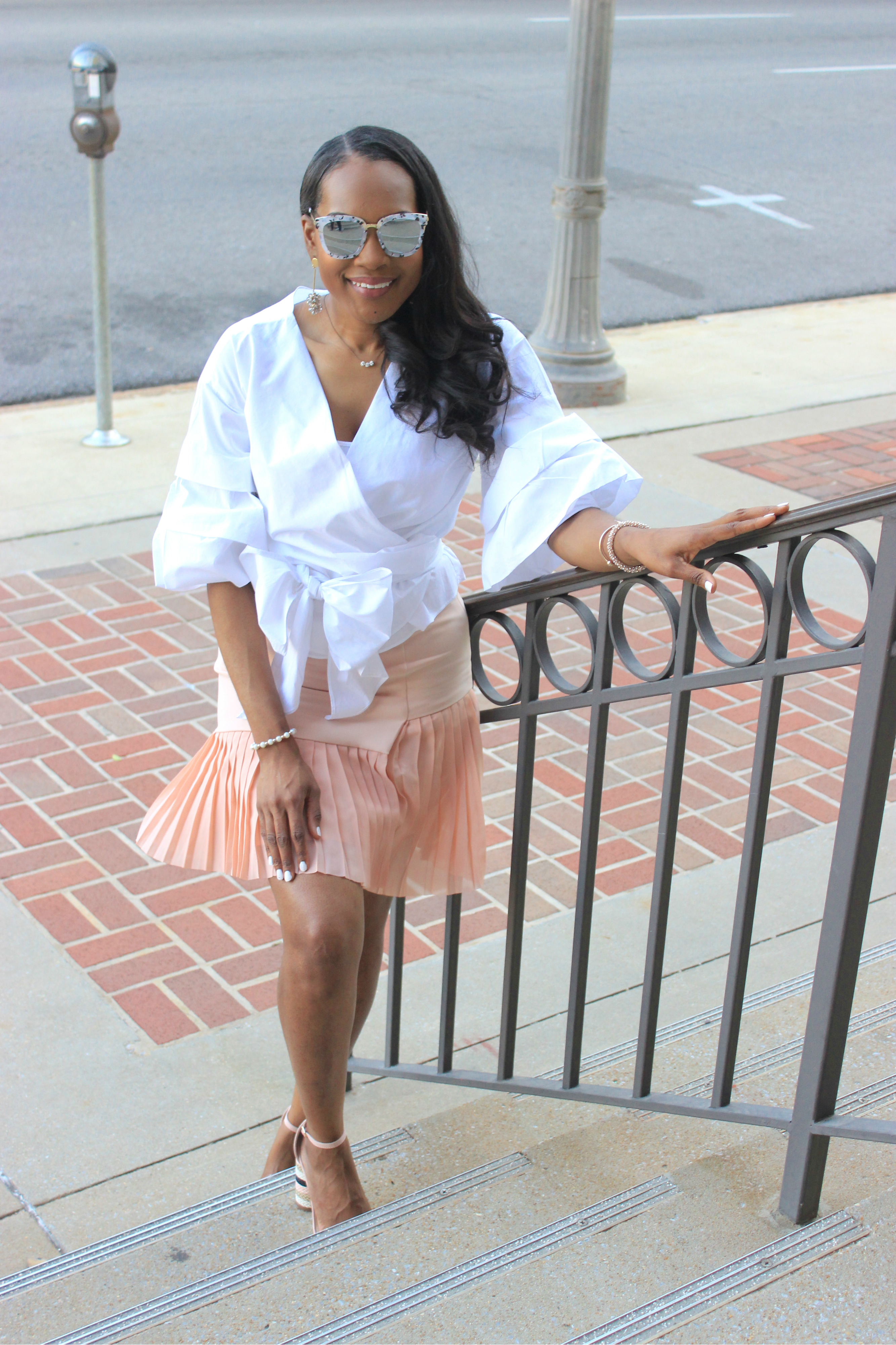 White-puff-sleeve-wrap-blouse-pink-pleated-mini-skirt-justfab-salona-cylinder-heel-sandals-top-Birmingham-blogger-Alabama-bloggers-oohlalablog-12