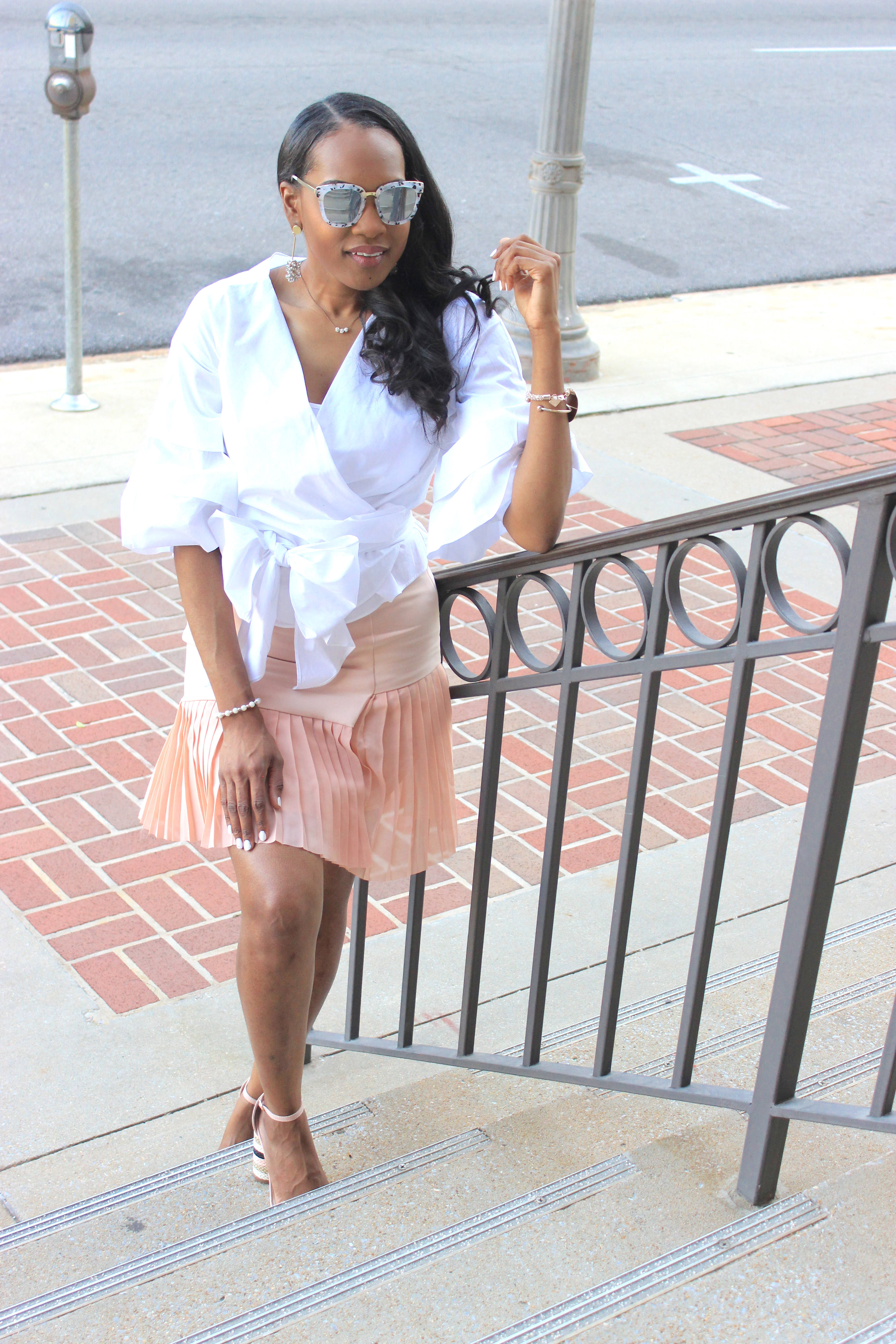 White-puff-sleeve-wrap-blouse-pink-pleated-mini-skirt-justfab-salona-cylinder-heel-sandals-top-Birmingham-blogger-Alabama-bloggers-oohlalablog-14