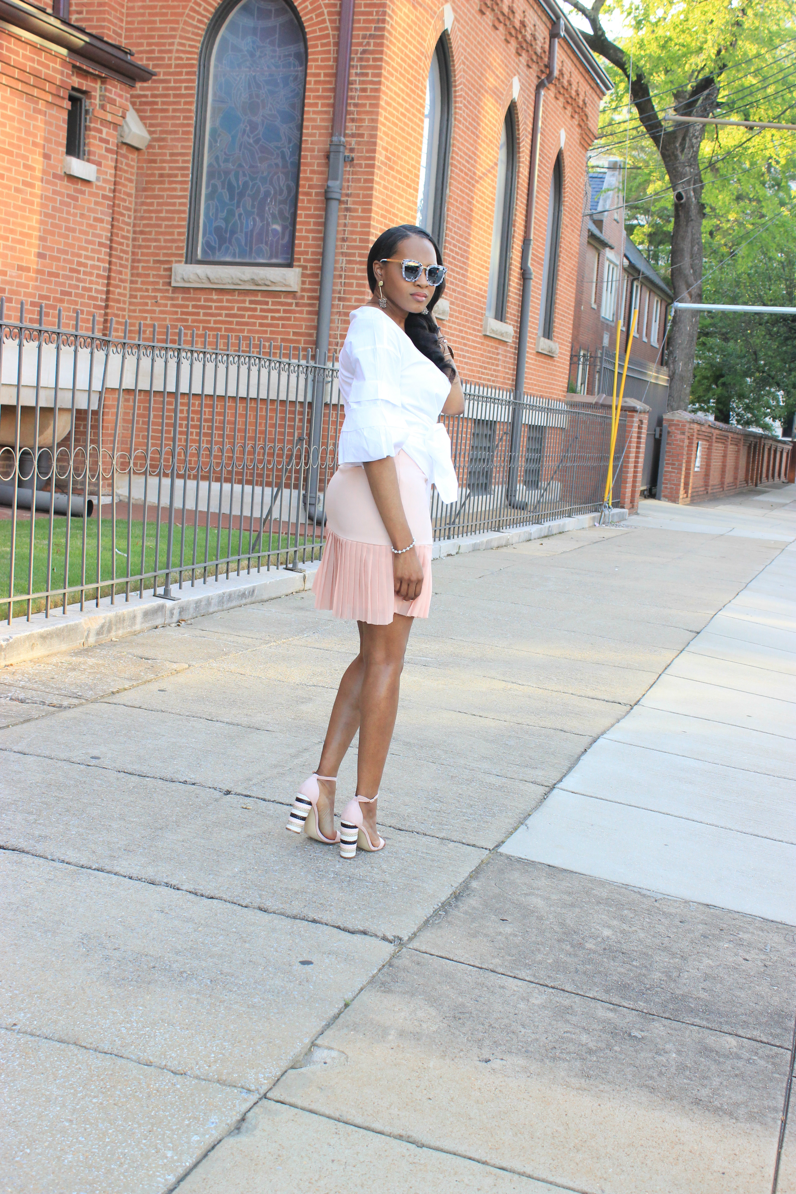 White-puff-sleeve-wrap-blouse-pink-pleated-mini-skirt-justfab-salona-cylinder-heel-sandals-top-Birmingham-blogger-Alabama-bloggers-oohlalablog-4