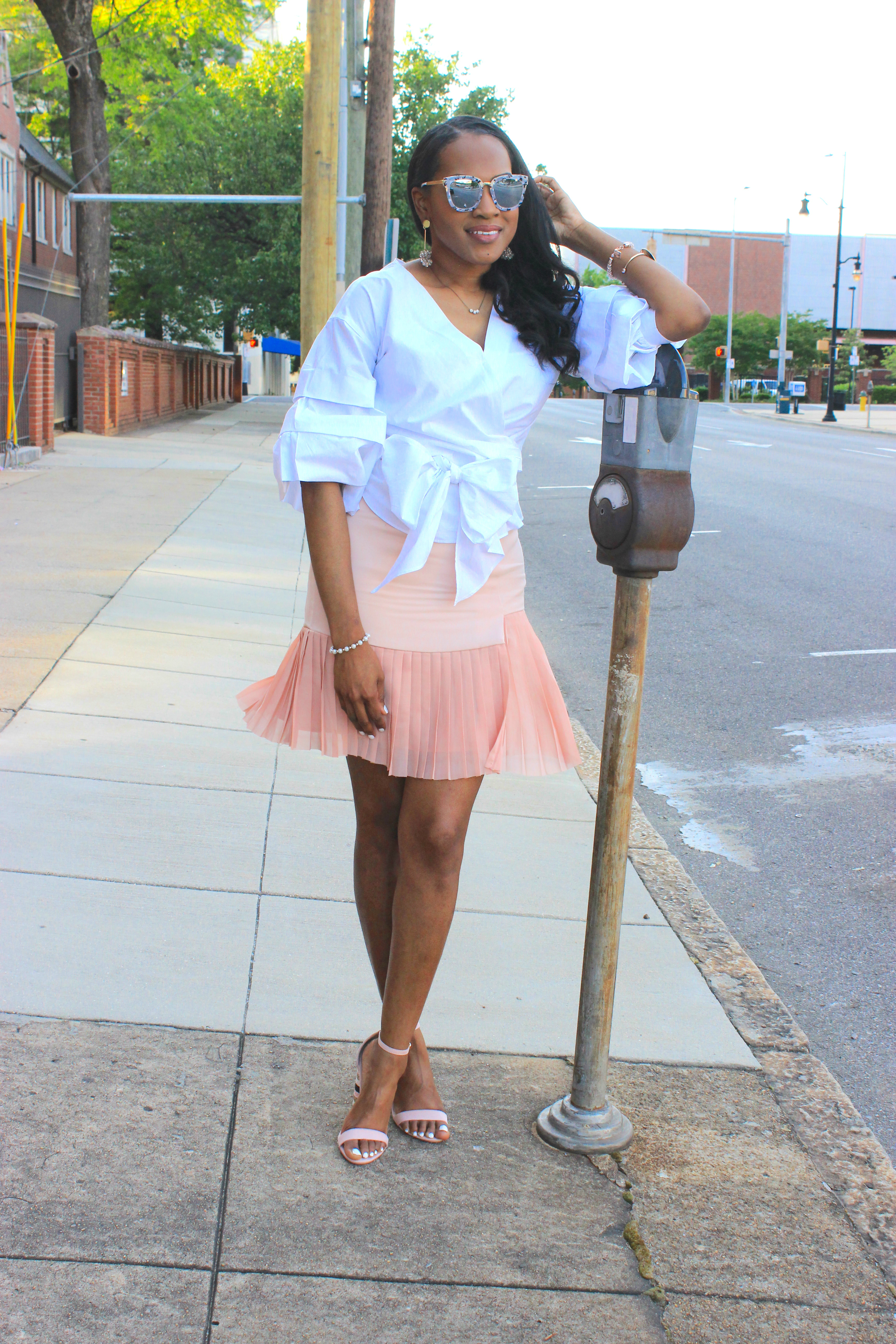 White-puff-sleeve-wrap-blouse-pink-pleated-mini-skirt-justfab-salona-cylinder-heel-sandals-top-Birmingham-blogger-Alabama-bloggers-oohlalablog-6