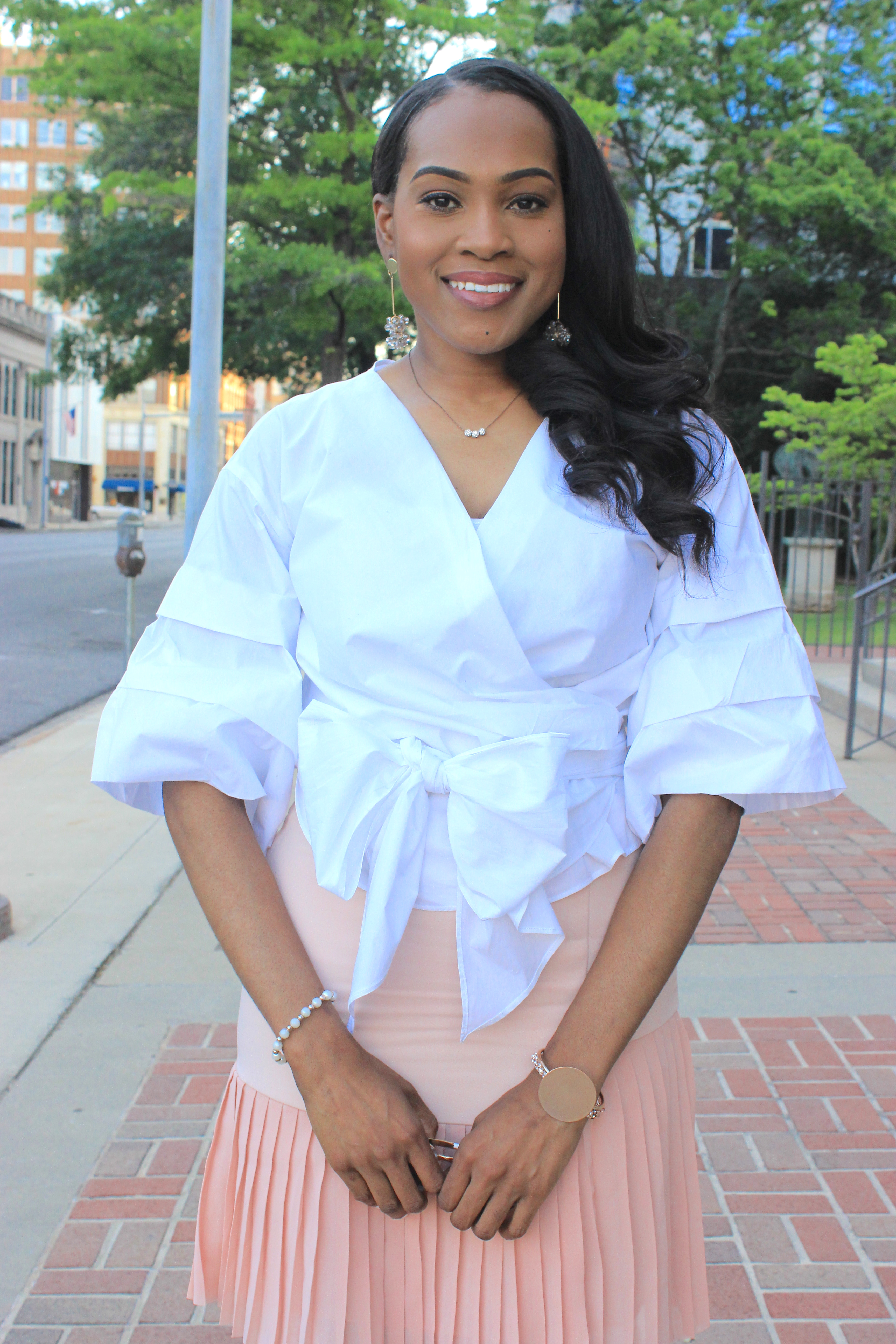 White-puff-sleeve-wrap-blouse-pink-pleated-mini-skirt-justfab-salona-cylinder-heel-sandals-top-Birmingham-blogger-Alabama-bloggers-oohlalablog-9