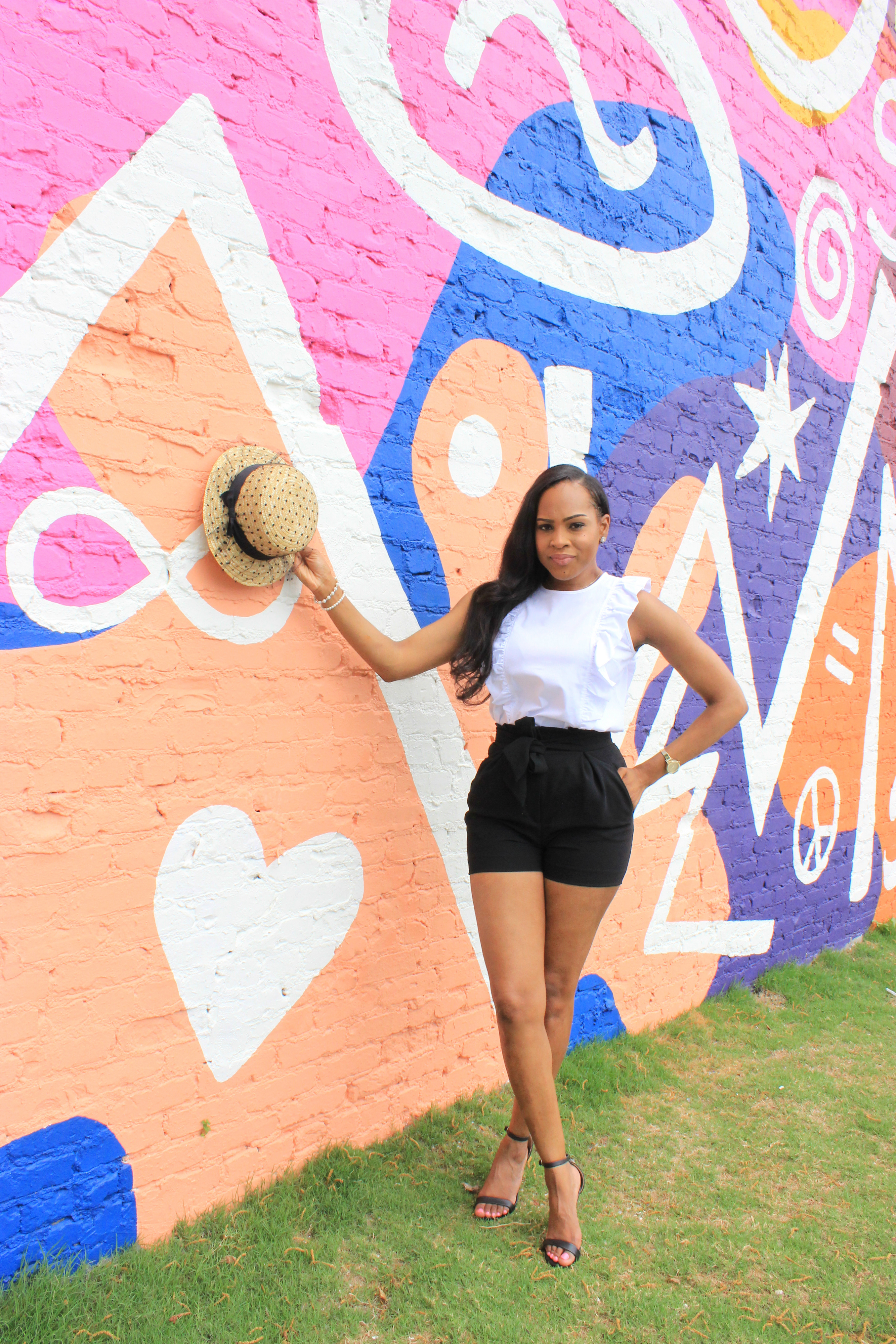 style-files-Michael kors white ruffle sleeveless top-HM-tie-front-black-shorts-amazon- polka -dot straw-hat-justfab-black-ankle-strap-sandals-birmingham-top-bloggers-oohlalablog-17