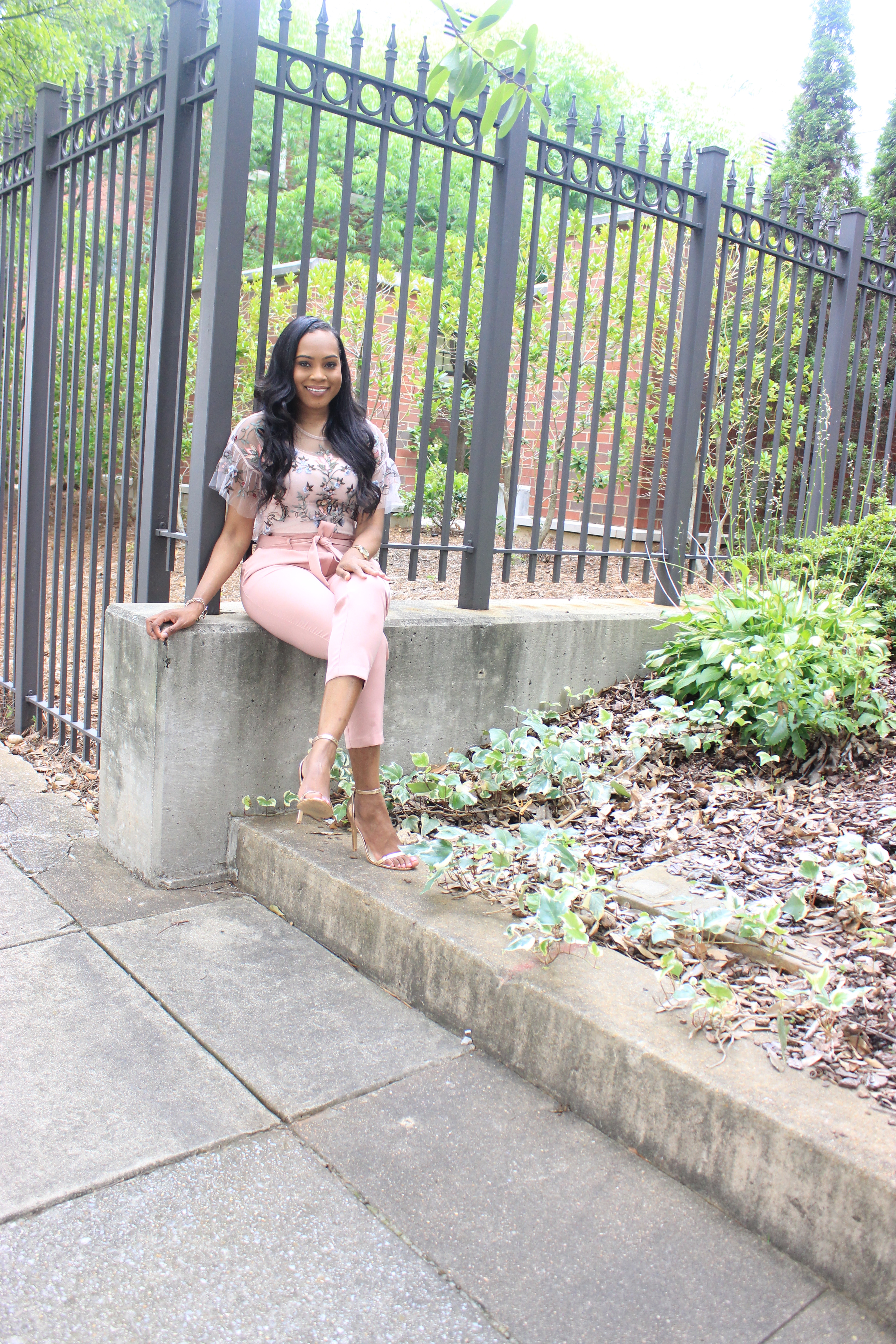 Style-files-Daila-Floral- Embroidered-Applique- Flounce-Sleeve-Sheer- Top-High-waist-pink-tie-front-pants-Birmingham-top-blogger-Alabama-top-blogger-oohlalablog-4