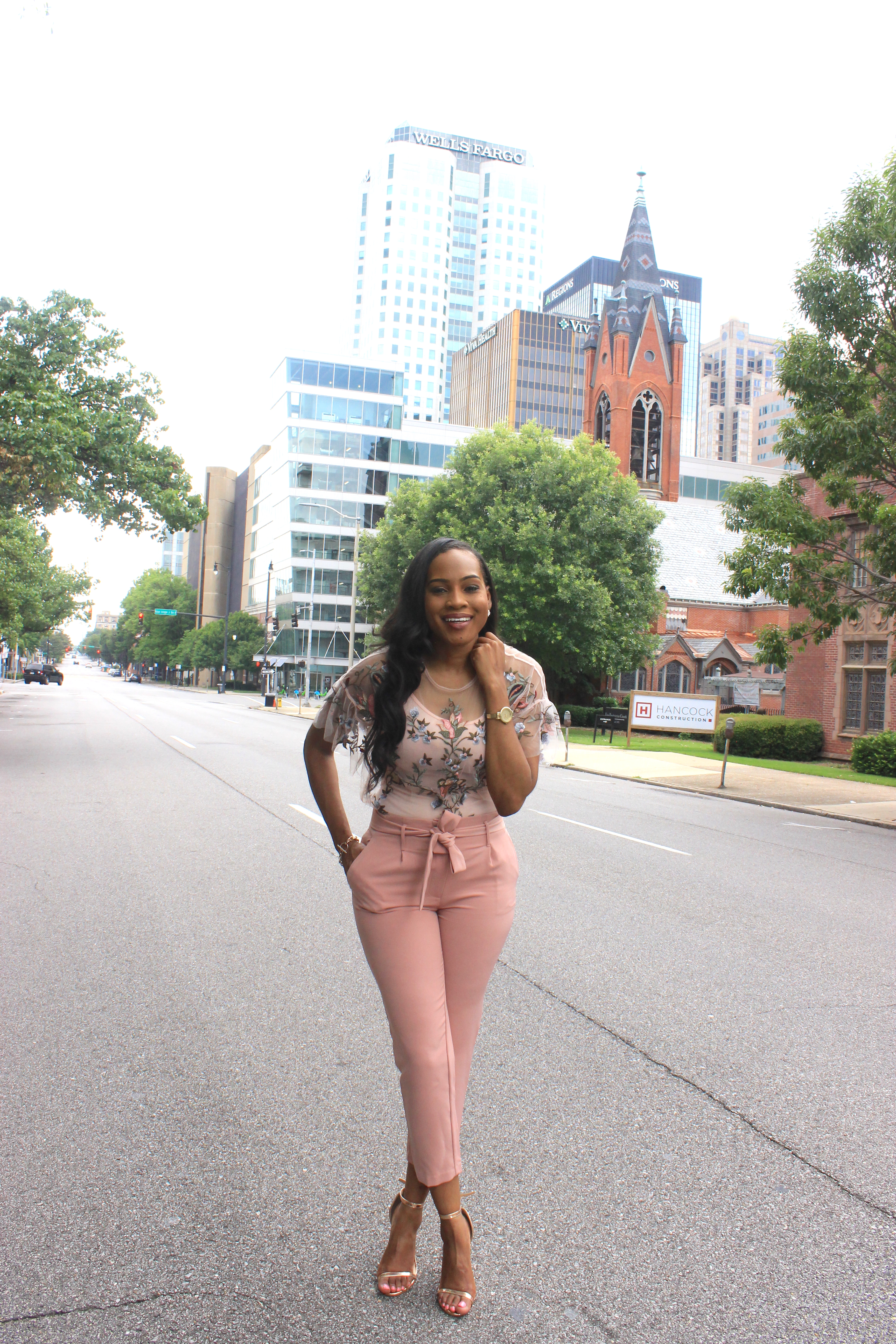 Style-files-Daila-Floral- Embroidered-Applique- Flounce-Sleeve-Sheer- Top-High-waist-pink-tie-front-pants-Birmingham-top-blogger-Alabama-top-blogger-oohlalablog-8