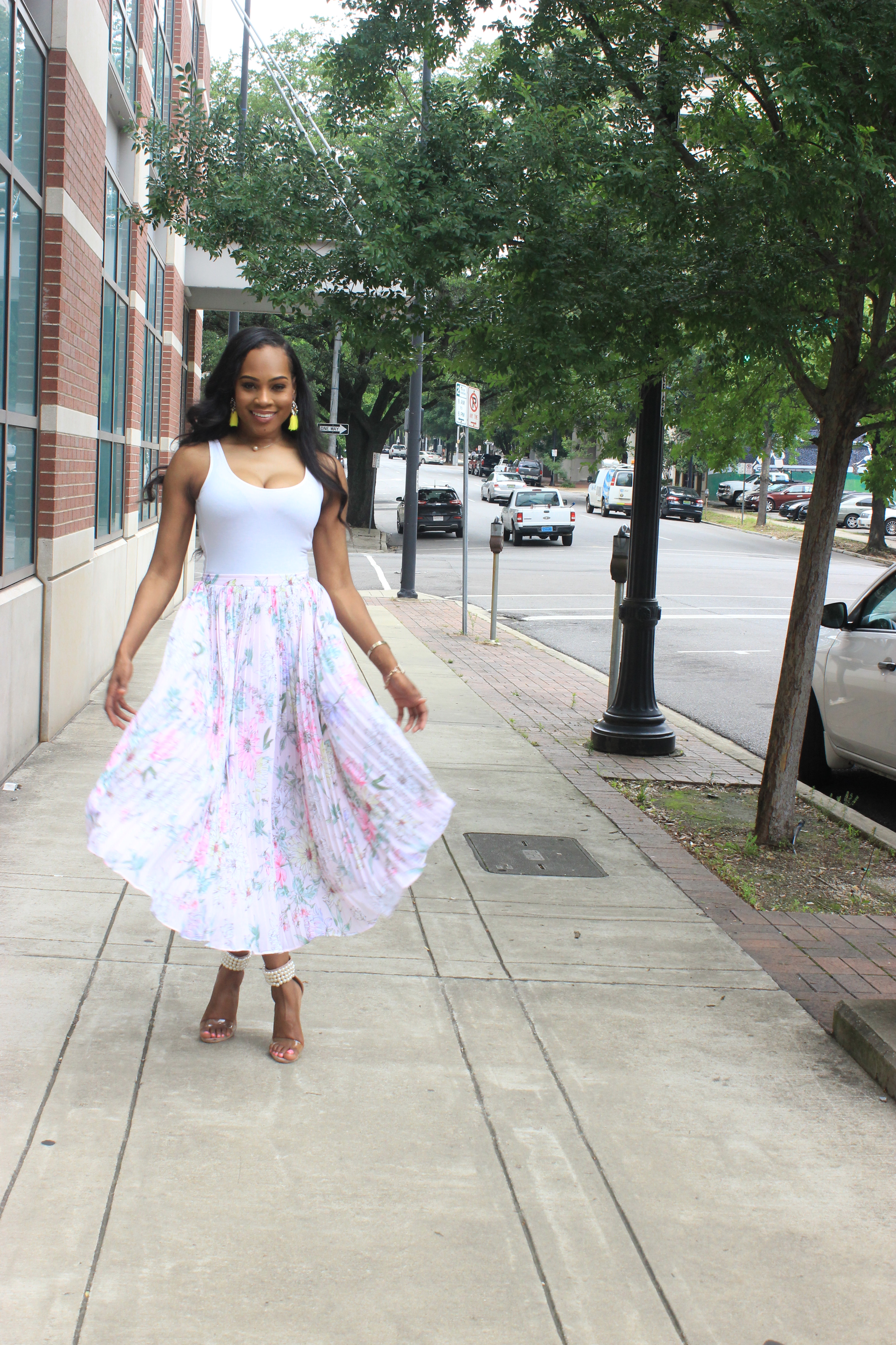 Style-files-hm-pleated-pastel-pink-floral-pleated-midi-skirt-forever21-bodysuit-misguided-pearl-ankle-strap-heel-sandals-oohlalablog-top-Birmingham-Alabama-blogger-3