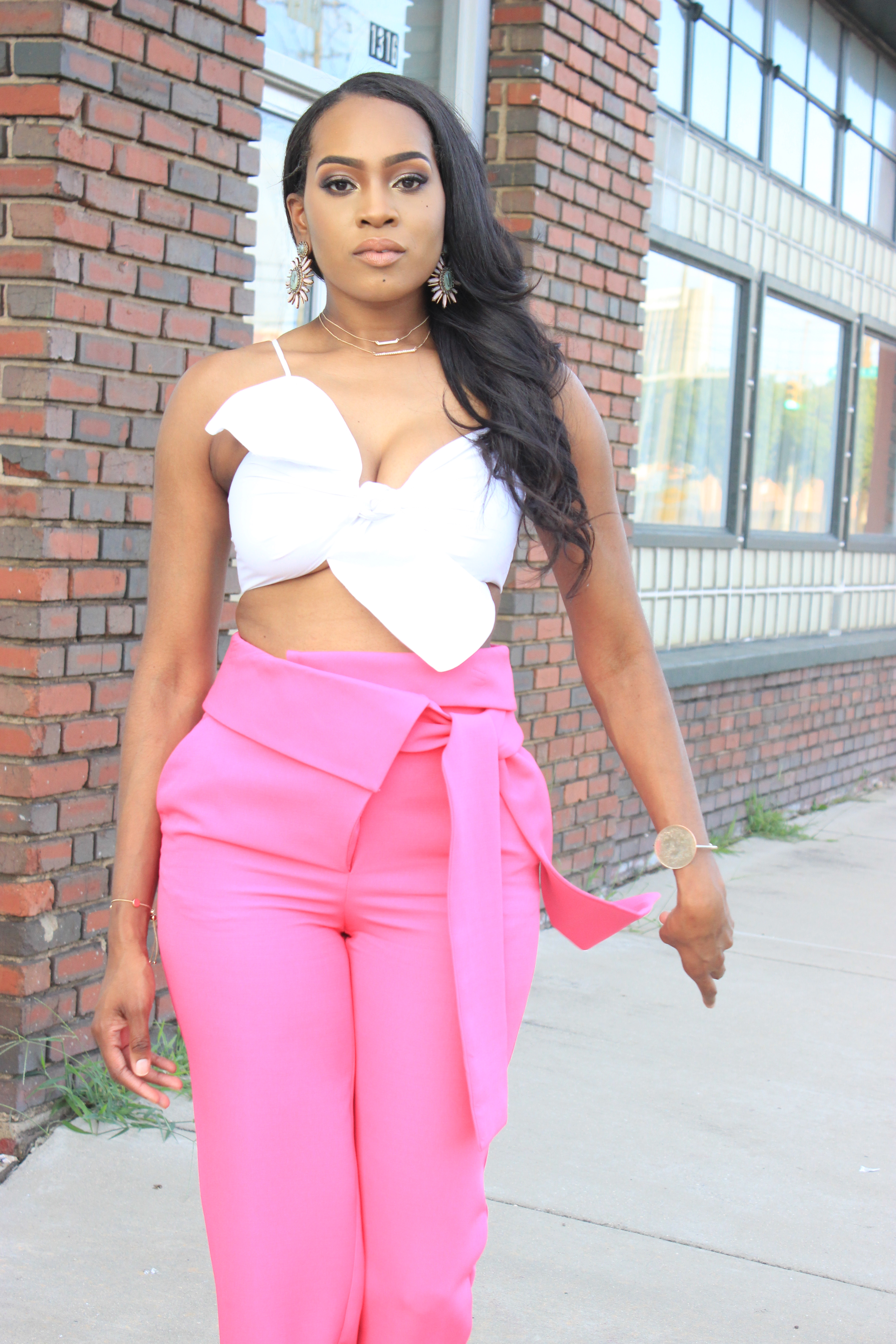 Style files-Hot-pink-asos-pants-with-origami-waist-tie-detail-truffle-collection-barely-there-heel-sandal-rose-gold-forever-21-contemporary-white-cropt-top-perfect-summer-pants-top-birmingham-bloggers-oohlalablog-13