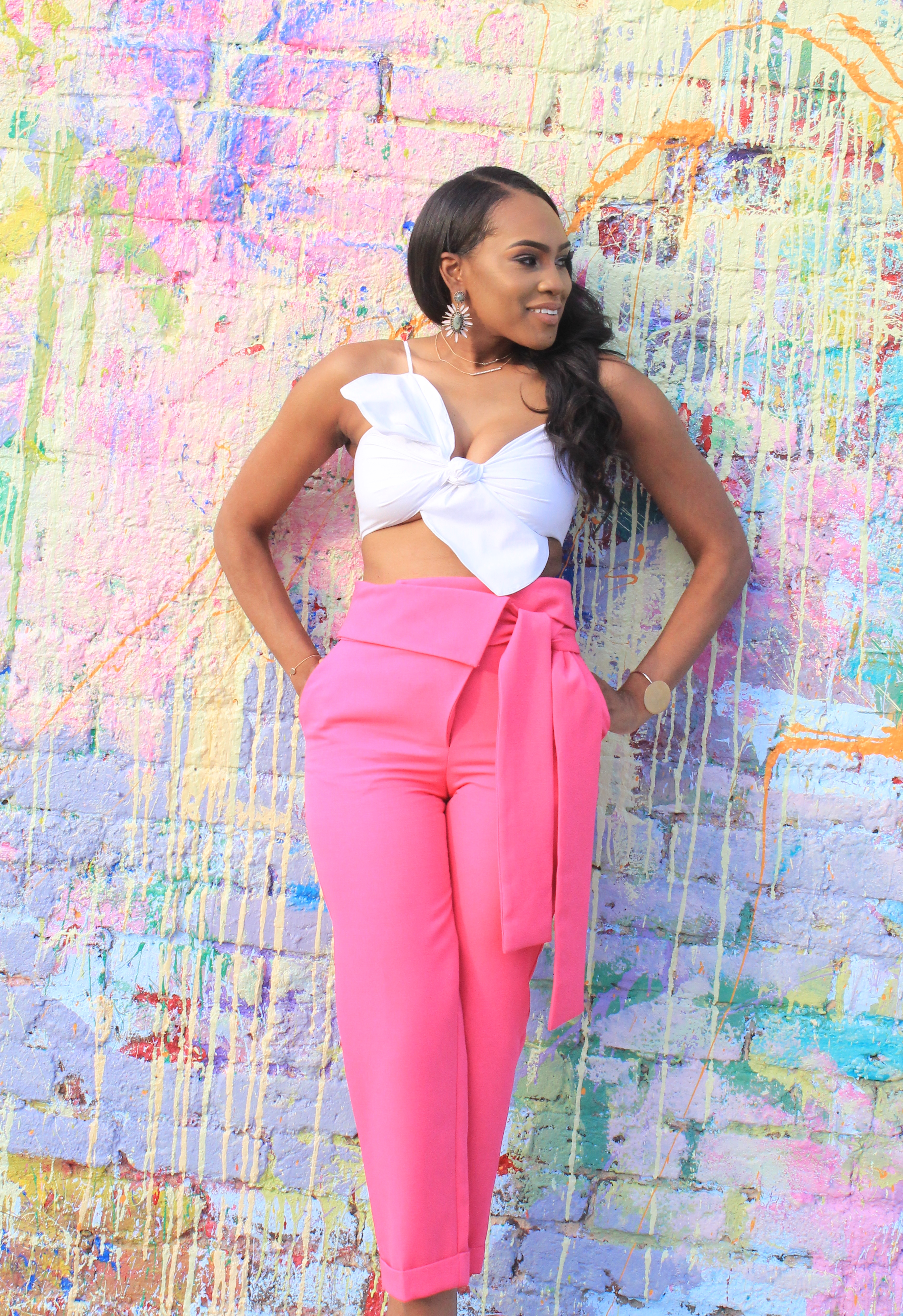 Style files-Hot-pink-asos-pants-with-origami-waist-tie-detail-truffle-collection-barely-there-heel-sandal-rose-gold-forever-21-contemporary-white-cropt-top-perfect-summer-pants-top-birmingham-bloggers-oohlalablog-2