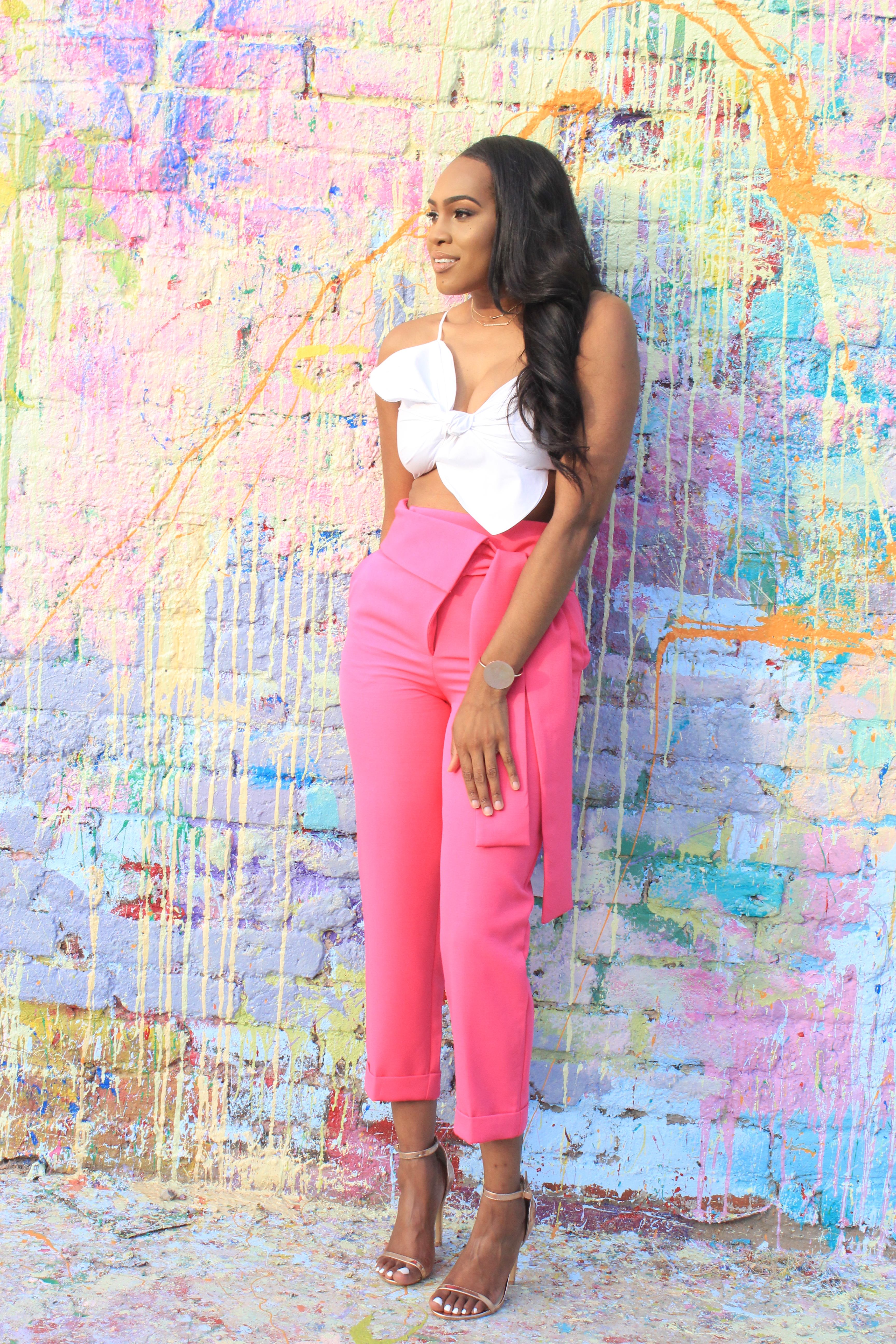 Style files-Hot-pink-asos-pants-with-origami-waist-tie-detail-truffle-collection-barely-there-heel-sandal-rose-gold-forever-21-contemporary-white-cropt-top-perfect-summer-pants-top-birmingham-bloggers-oohlalablog-3