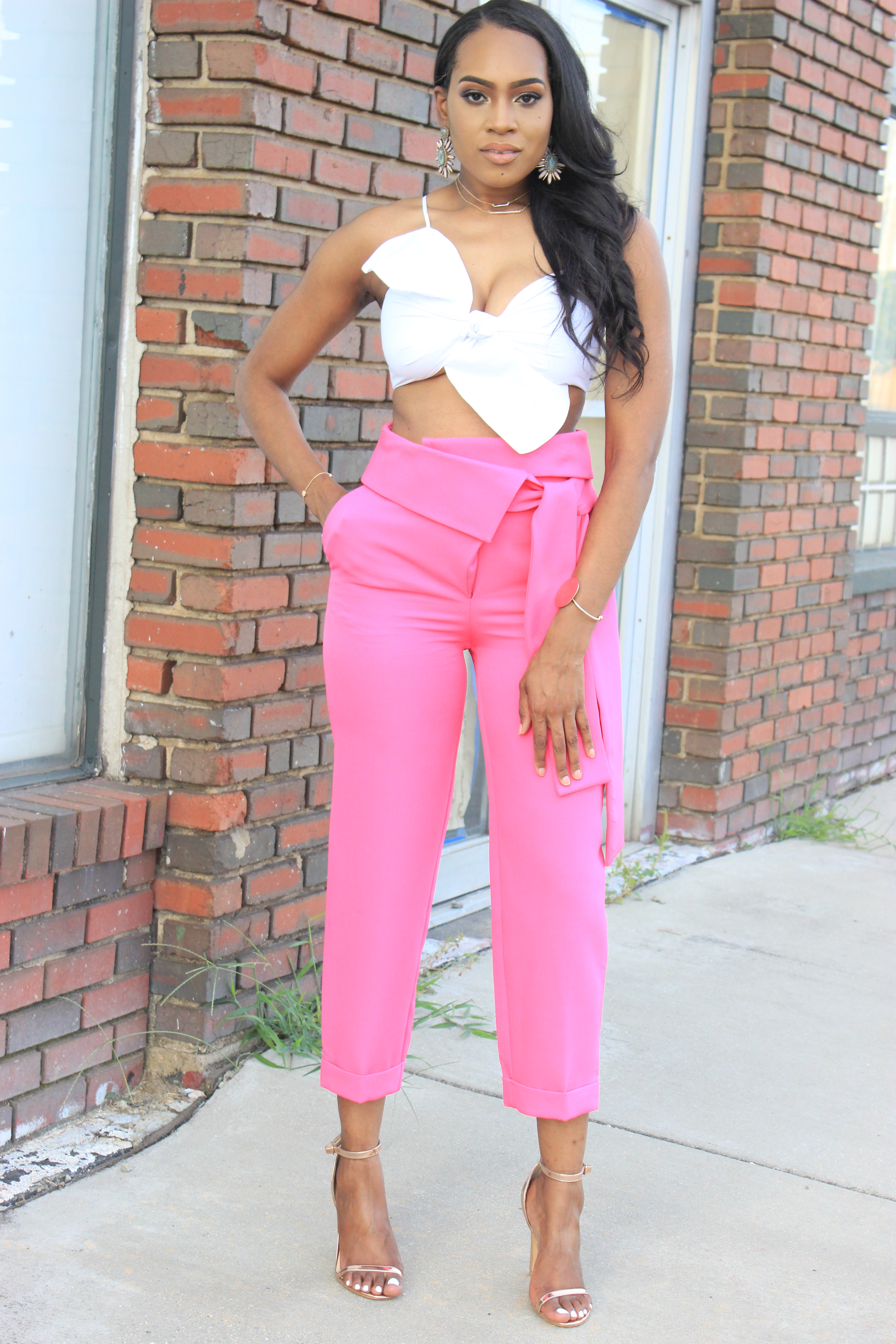 Style files-Hot-pink-asos-pants-with-origami-waist-tie-detail-truffle-collection-barely-there-heel-sandal-rose-gold-forever-21-contemporary-white-cropt-top-perfect-summer-pants-top-birmingham-bloggers-oohlalablog-9