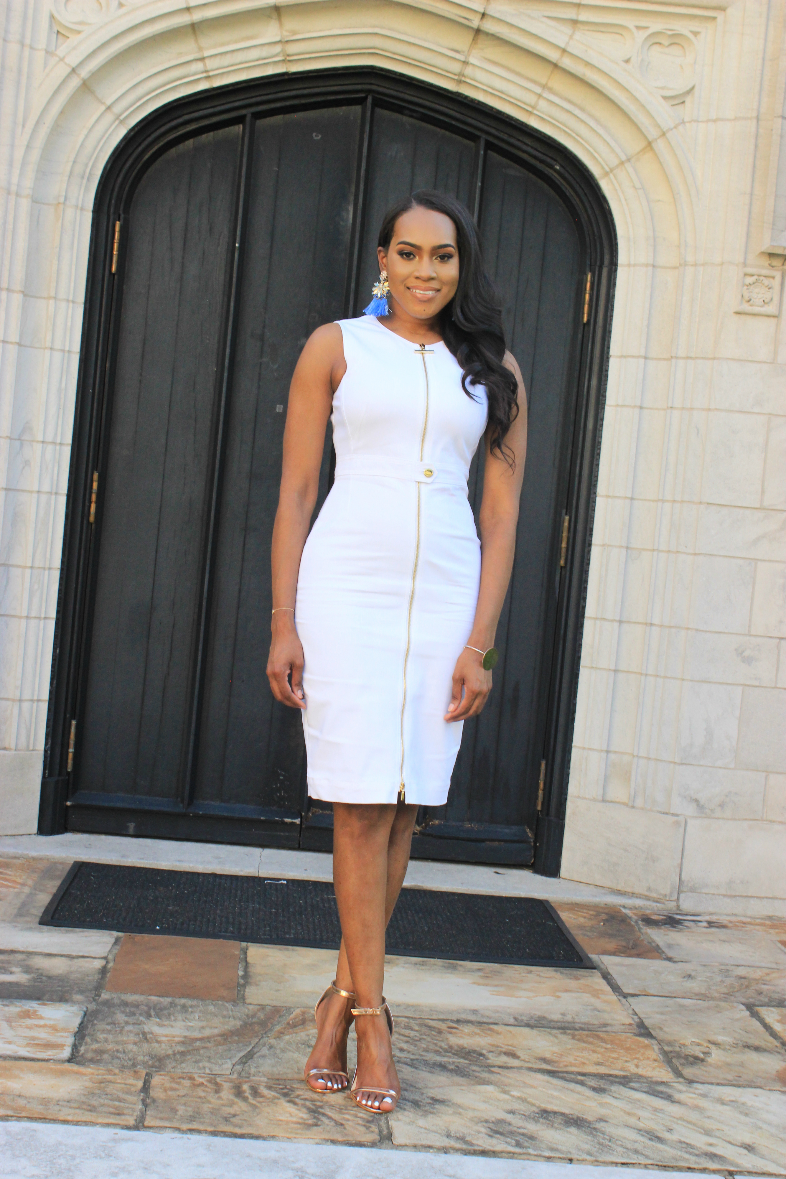 Style-Files-White-Sheath-Calvin-Klein-Dress-with-front-exposed-gold-zipper-sky-blue-fringe-earrings-truffle-collection-barely-there-heel-sandal-rose-gold-how-to-wear-white-to-work-birmingham-top-blogger-oohlalablog-1