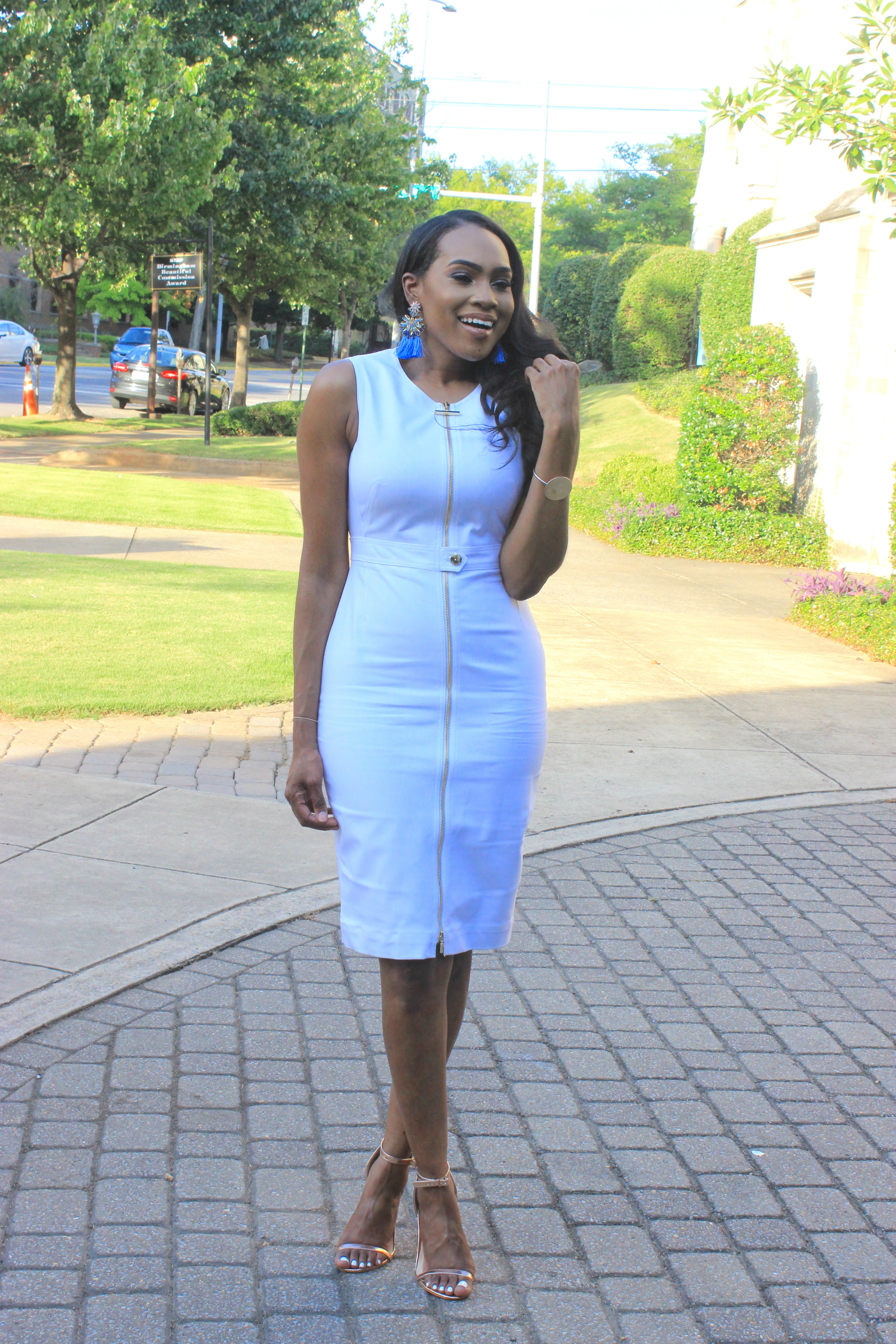 Style-Files-White-Sheath-Calvin-Klein-Dress-with-front-exposed-gold-zipper-sky-blue-fringe-earrings-truffle-collection-barely-there-heel-sandal-rose-gold-how-to-wear-white-to-work-birmingham-top-blogger-oohlalablog-5