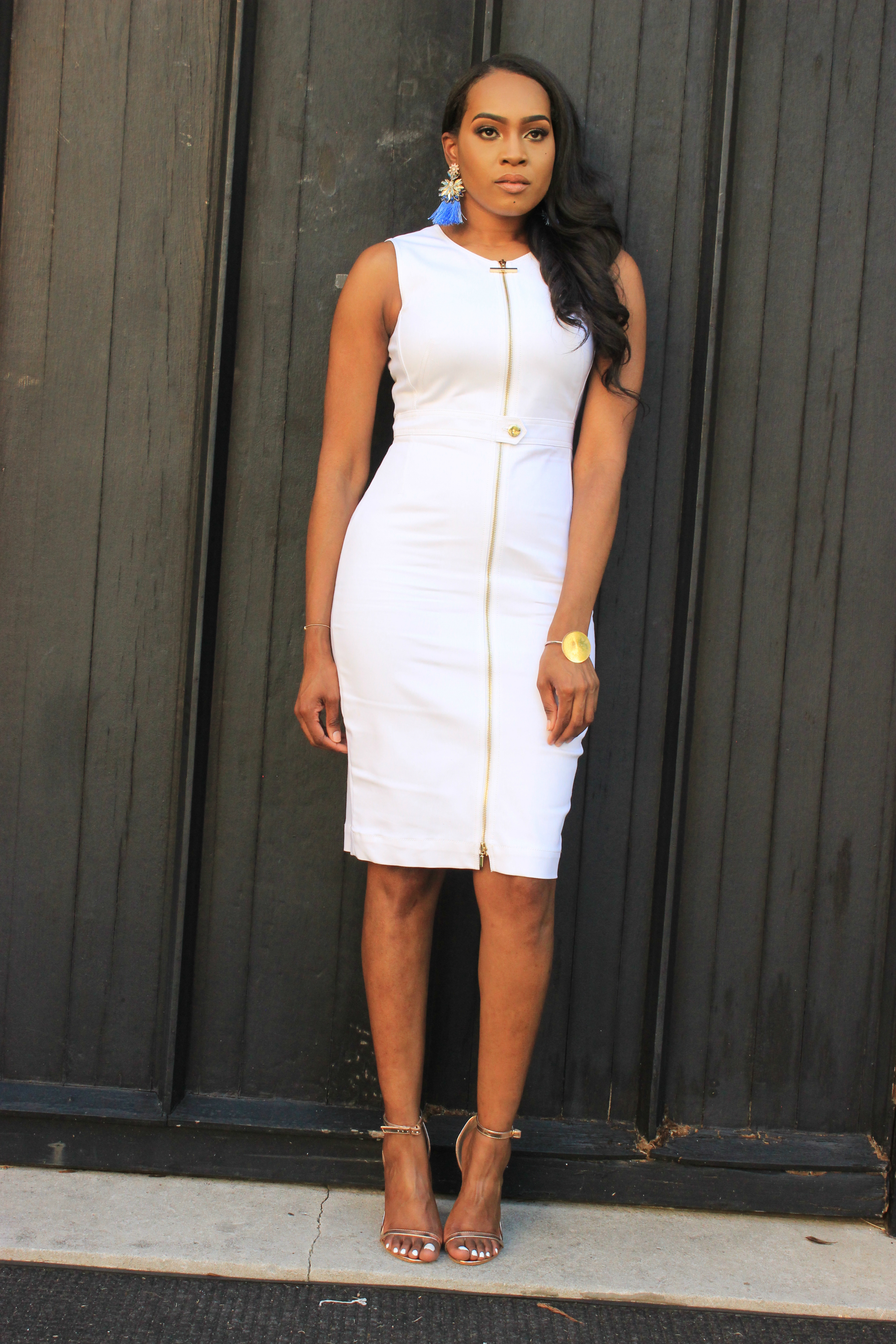 Style-Files-White-Sheath-Calvin-Klein-Dress-with-front-exposed-gold-zipper-sky-blue-fringe-earrings-truffle-collection-barely-there-heel-sandal-rose-gold-how-to-wear-white-to-work-birmingham-top-blogger-oohlalablog-9